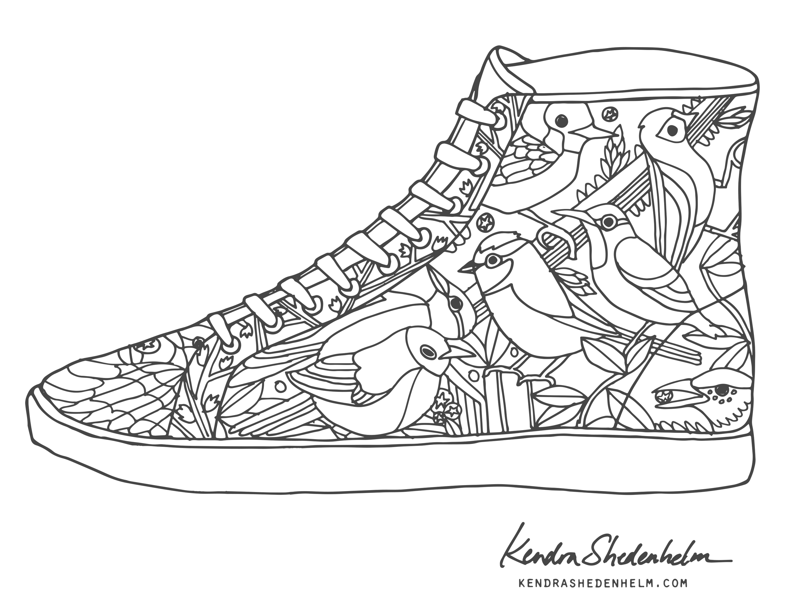 Birds, doodles, shoes and FREE coloring pages! — Kendra ...