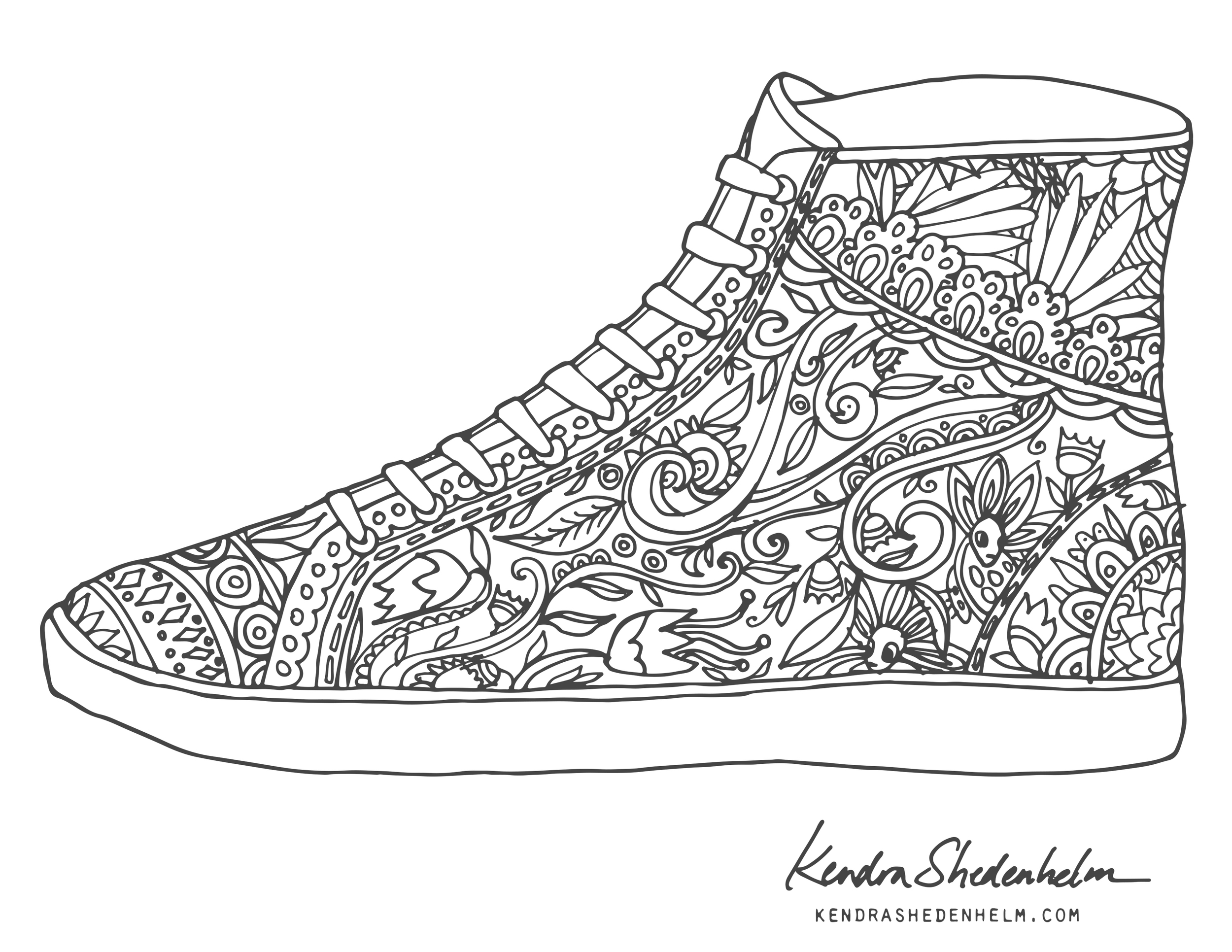 Birds Doodles Shoes And Free Coloring Pages Kendra