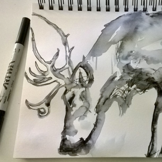 Kendra_Shedenhelm_Watercolor_Sketch_Reindeer