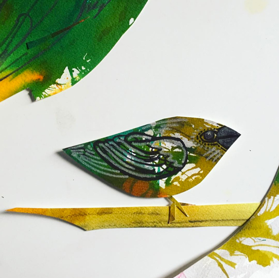 Kendra Shedenhelm_Bird on a Branch_Paper Cutout_Sketch