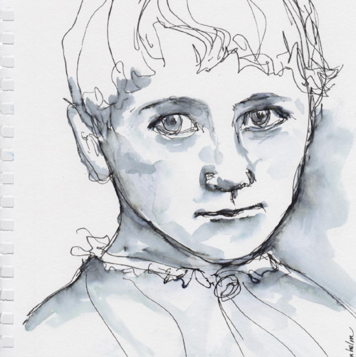 Portrait study of a young Beatrix Potter, watercolor, Copyright 2017 Kendra Shedenhelm