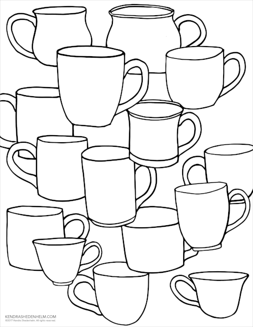 Cups drawing, free download available  here