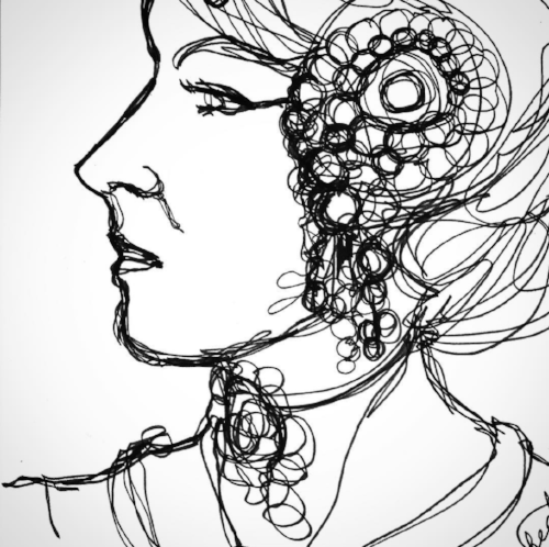All-one-line drawing of a woman with headpiece, ink pen, Copyright 2017 Kendra Shedenhelm
