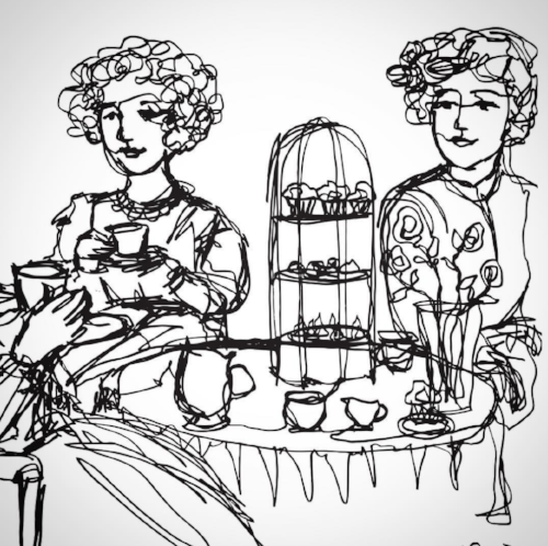 All-one-line drawing of ladies having coffee, ink pen, Copyright 2017 Kendra Shedenhelm