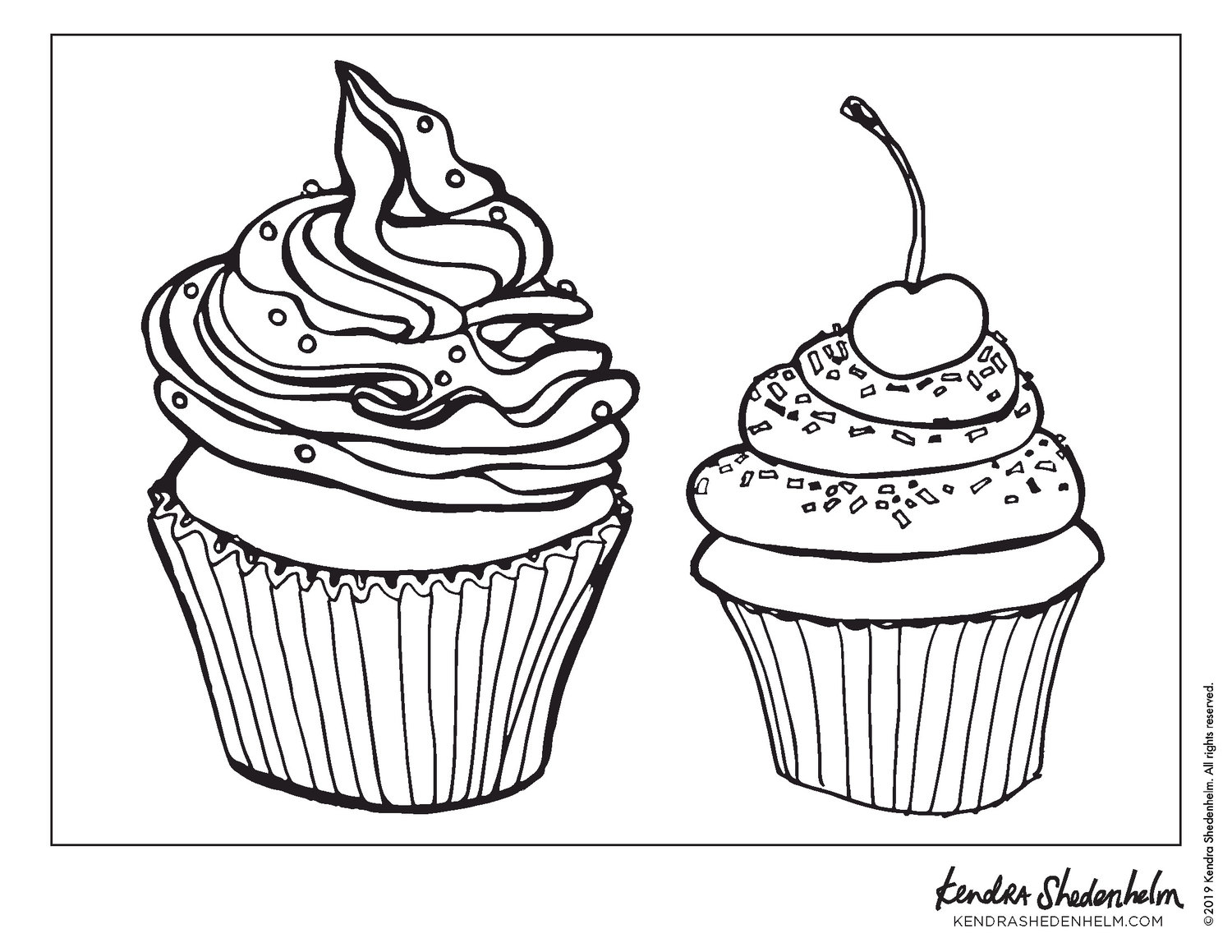 Cute Cupcake Coloring Page • FREE Printable PDF from PrimaryGames | 1159x1500