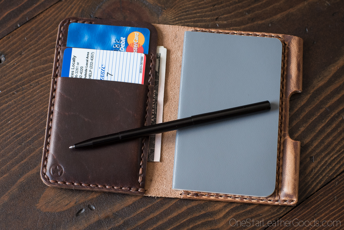 EDC Slim Full grain leather Leather Notebook Wallet Small wallet Minimalist Pocket notes Space pen Credit card wallet Free Notebook