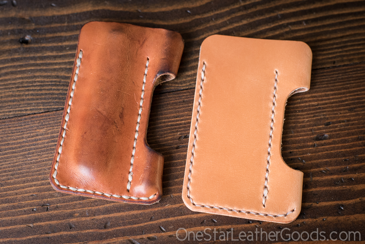 The same tan harness leather, aged on the left.