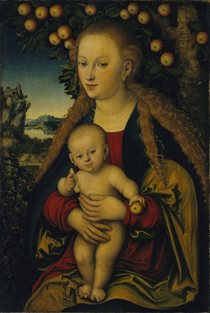 Lucas Cranach the Elder,  The Virgin and Child under an Apple Tree.  1525–1530.