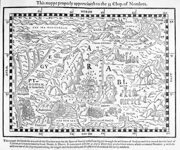 A map showing the journey of the Israelites out of Egypt and into Canaan, facsimile of an image from the Geneva Bible of 1560 (engraving)