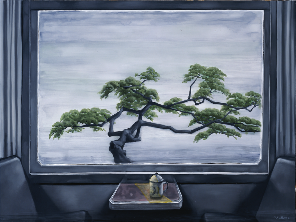 Train Window - Green Pine {车窗-青松]. Zhang Xiaogang 张晓刚2010