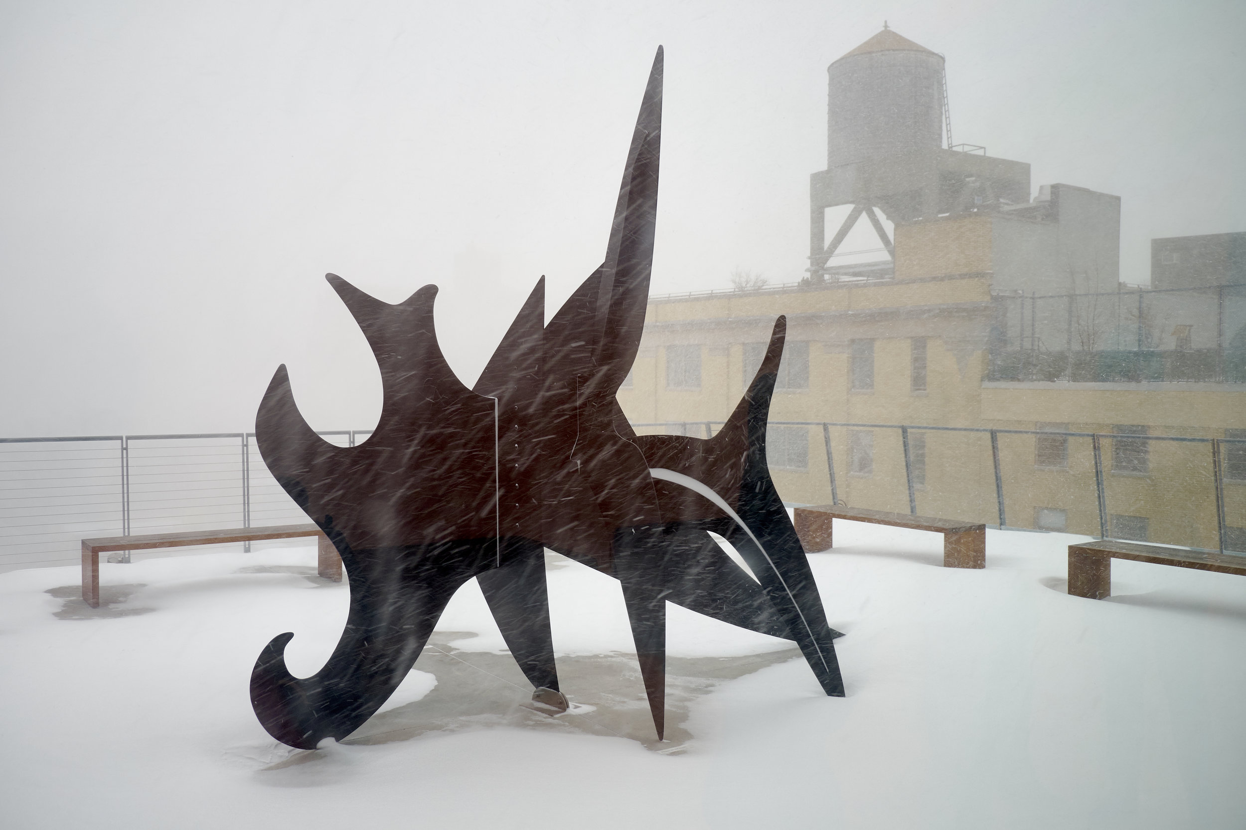 "Alexander Calder, ""The Cock's Comb,"" 1960, on the roof of the Whitney"
