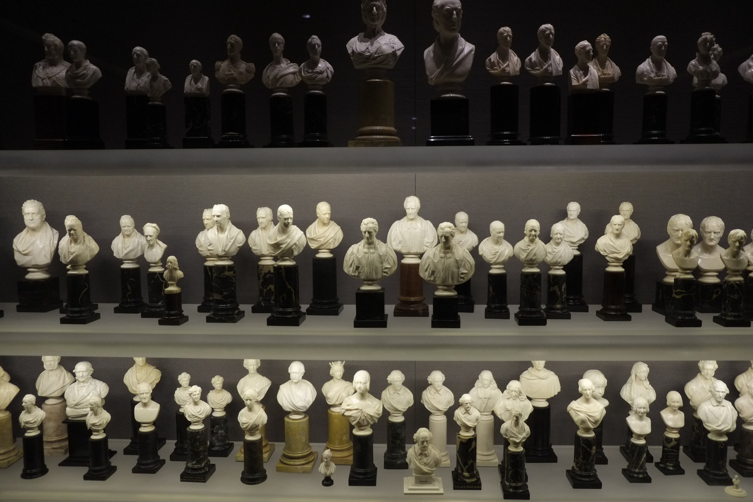 Some of the ivory miniature busts in the Thomson Collection, AGO