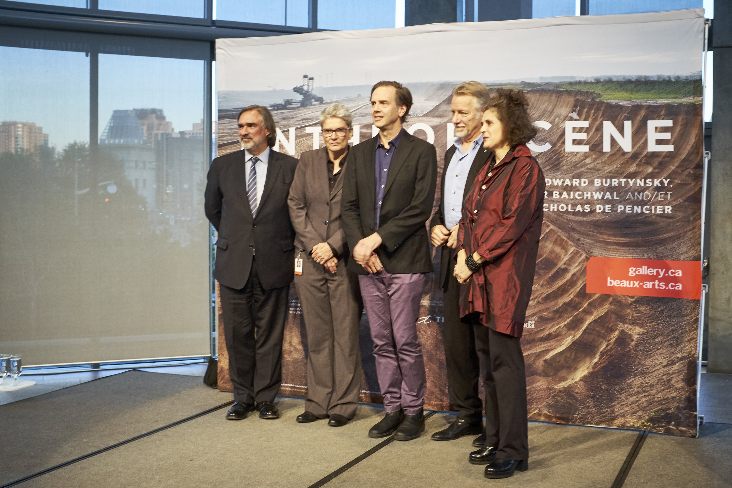 Anthropocene  opening at the National Gallery of Canada (NGC), Sept. 26, 2018. From left to right: Marc Mayer, Director of the NGC; Andrea Kunard, Associate Curator, Canadian Photography Institute, NGC; Nicholas de Pencier; Edward Burtynsky; and Jennifer Baichwal.
