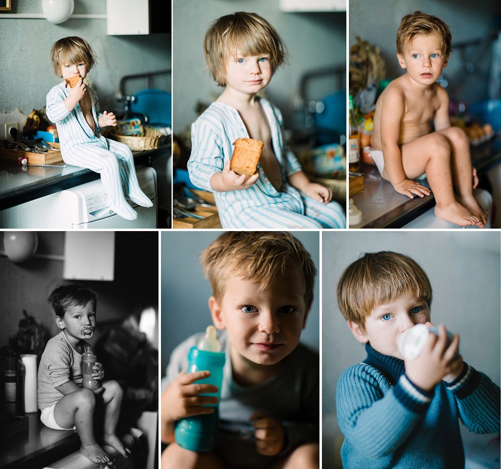 Hélen de deux ans à 3 ans, dans le bazar de la cuisine