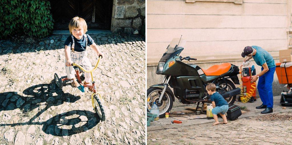 Hélen sait faire du vélo.  Hélen aime bricoler avec son grand-oncle.