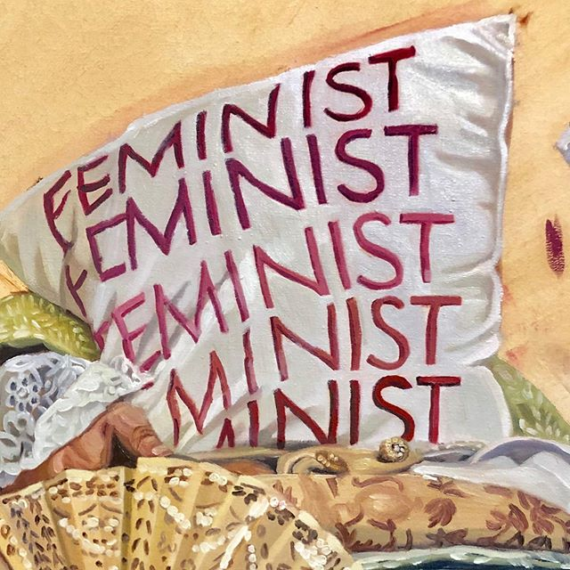 Who doesn't like a pink feminist pillow?