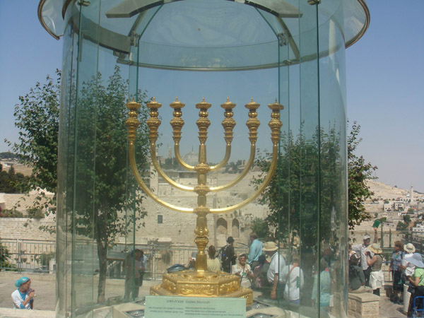 Life-size Menorah prepared for the new Temple to come.