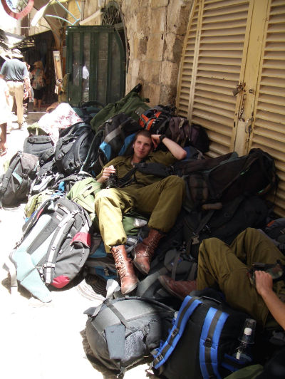 Israeli soldiers take a break