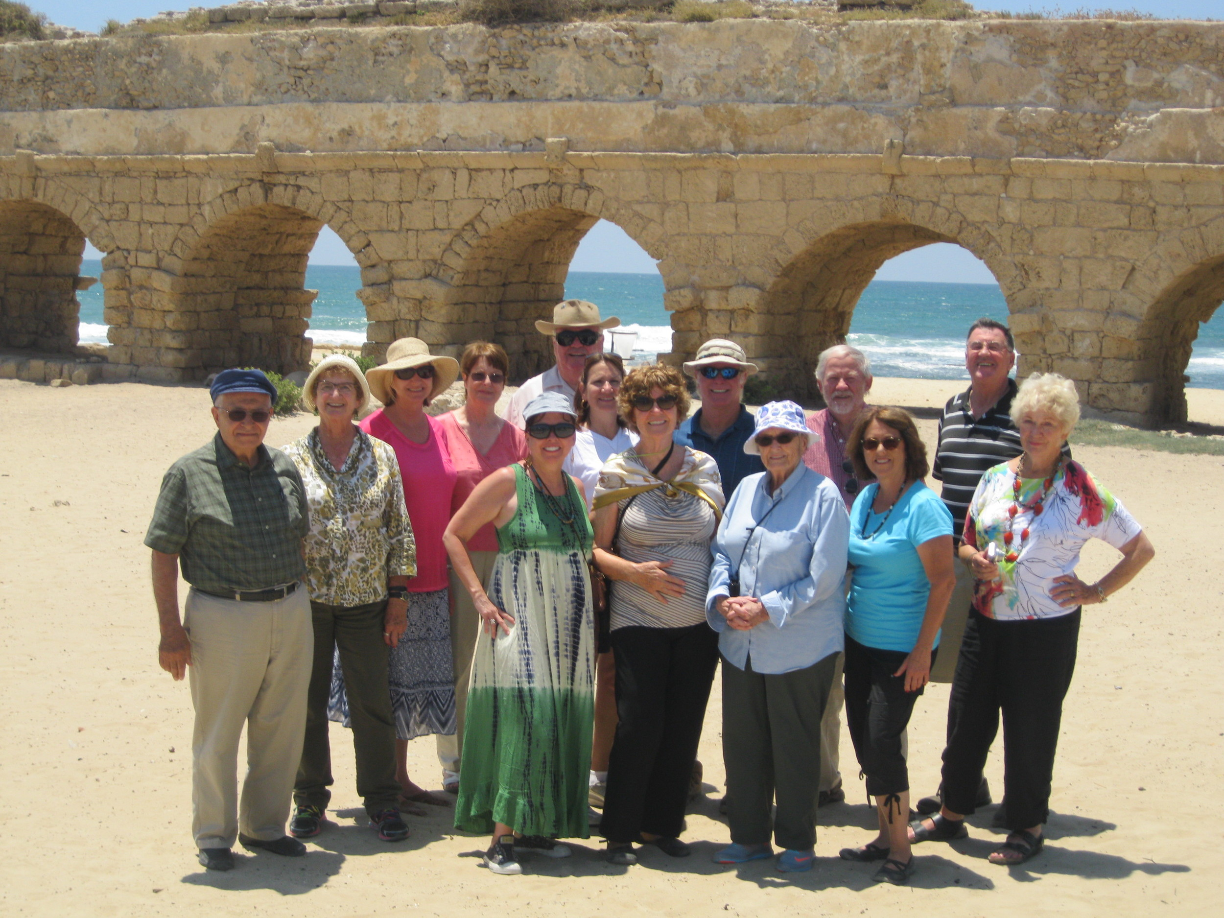 Group photo at Caesarea by the Sea Aquaduct