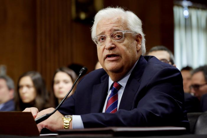 FILE PHOTO -- David Friedman testifies before a Senate Foreign Relations Committee hearing on his nomination to be U.S. ambassador to Israel, on Capitol Hill in Washington, U.S., February 16, 2017. REUTERS/Yuri Gripas/File Photo