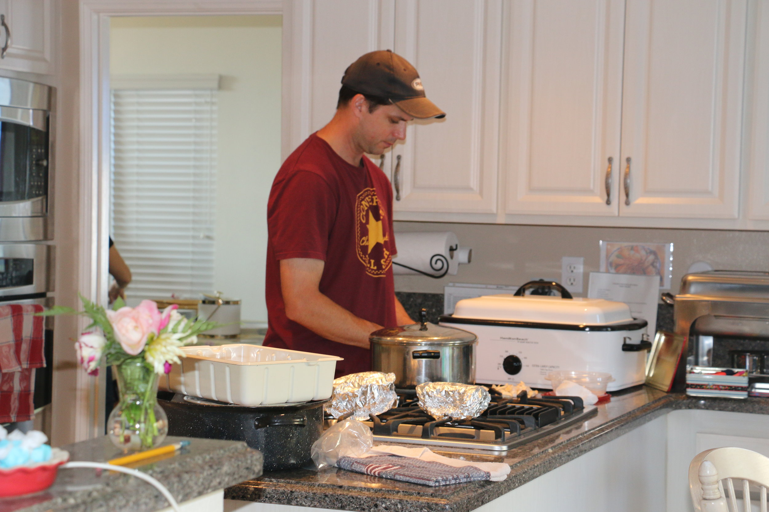 Volunteering in the kitchen for the Feast of Tabernacles Dinner