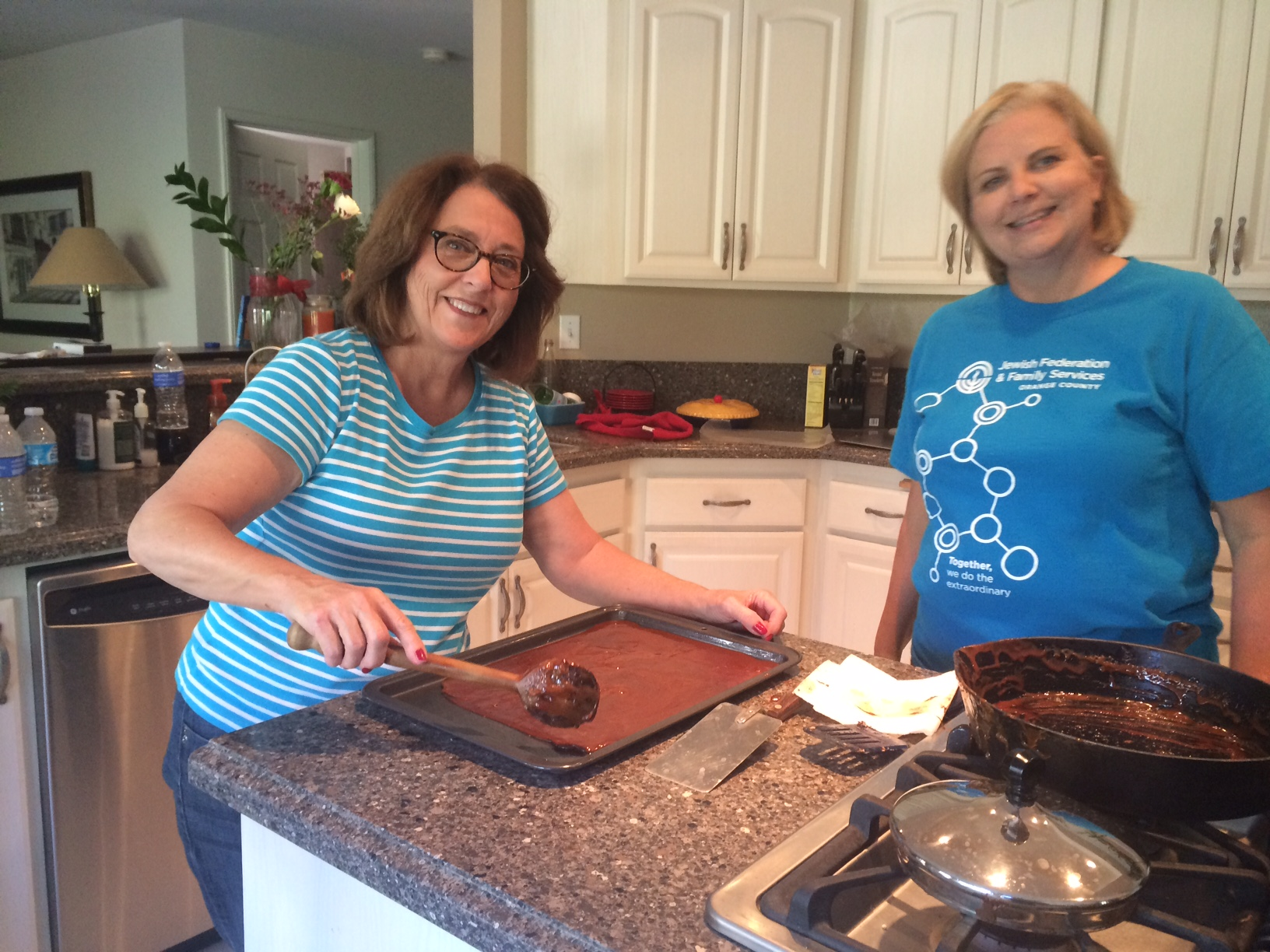 Board members making English Toffee for our Donors