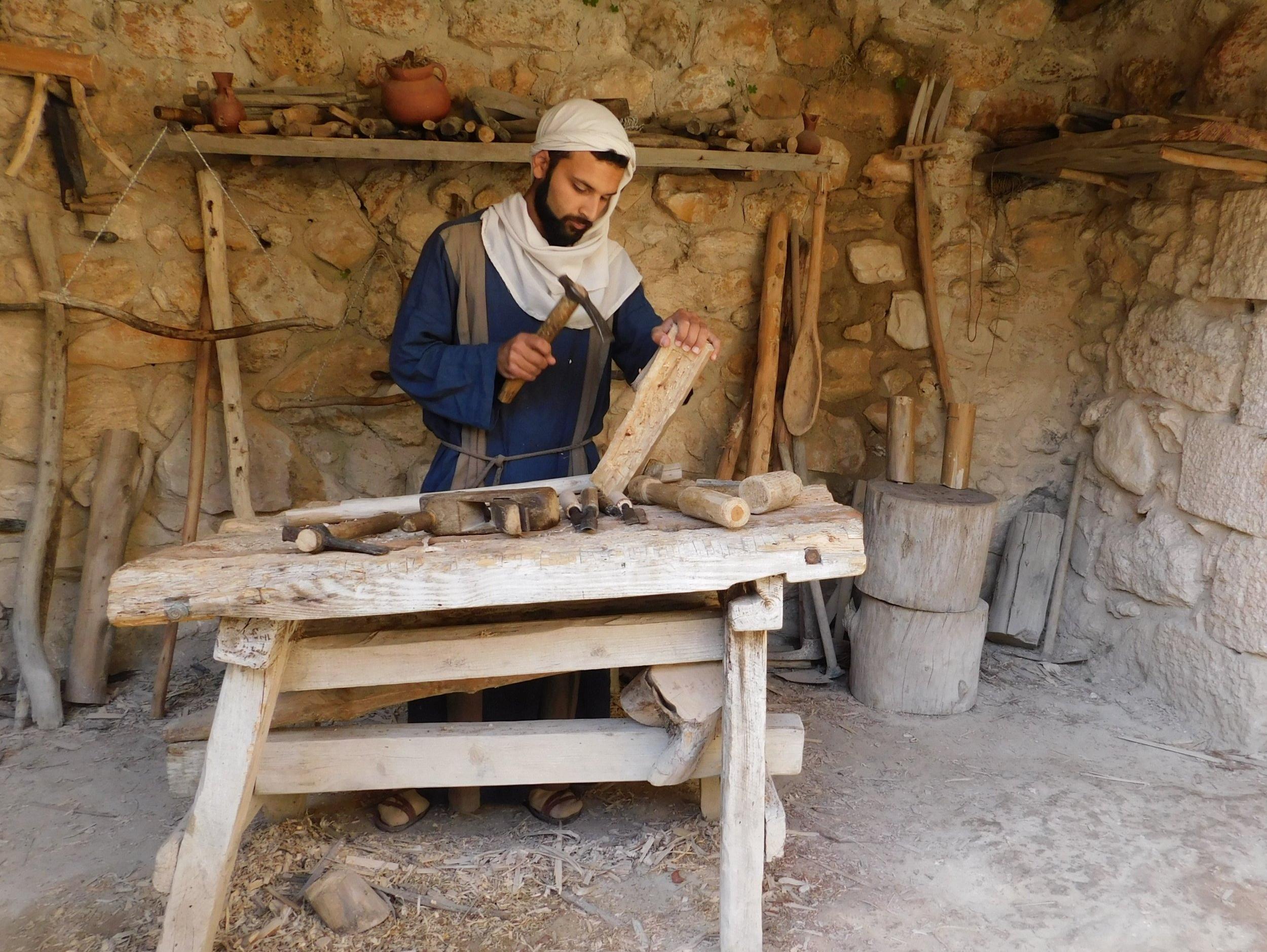 A carpenter at Nazareth Village