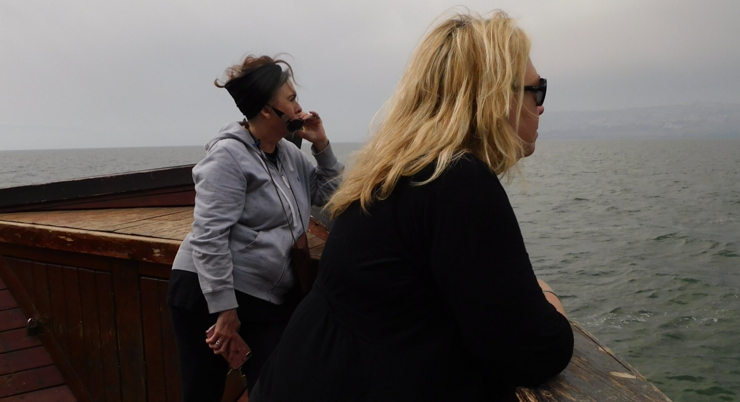 A reflective moment on the Sea of Galilee