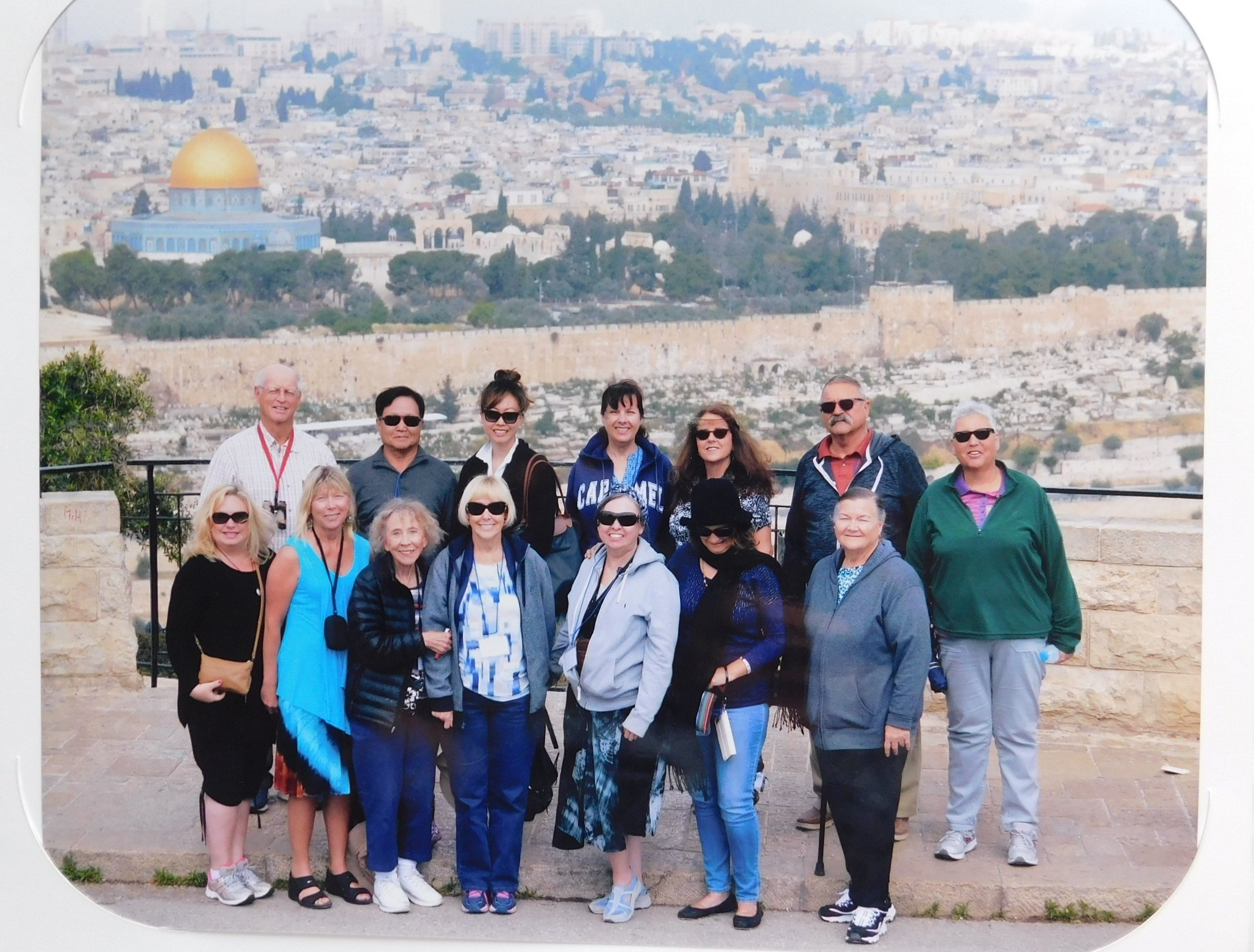 Tour group photo taken at the Mount of Olives