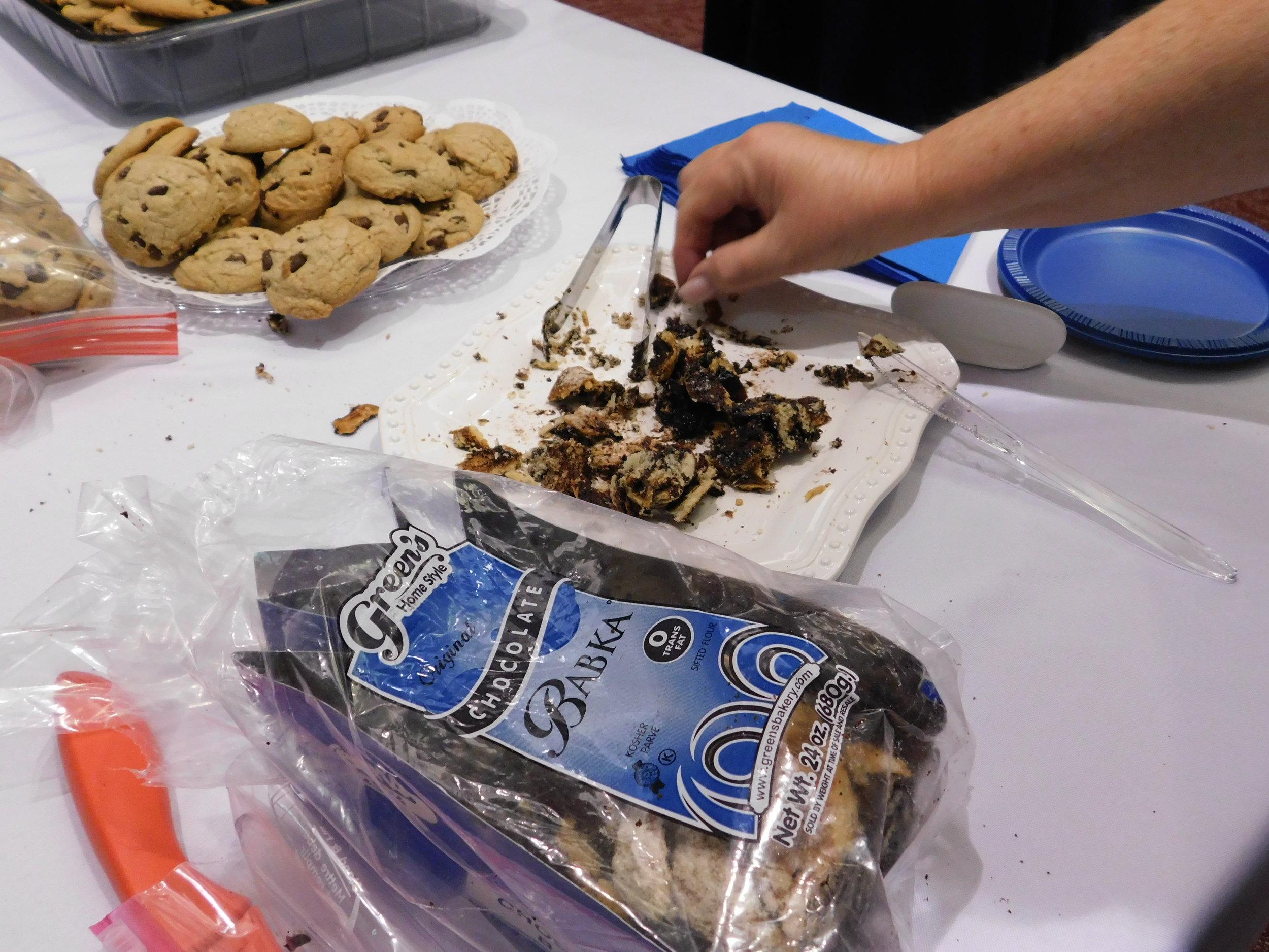 Everyone had a taste of Shmuel's favorite dessert, Chocolate Babka