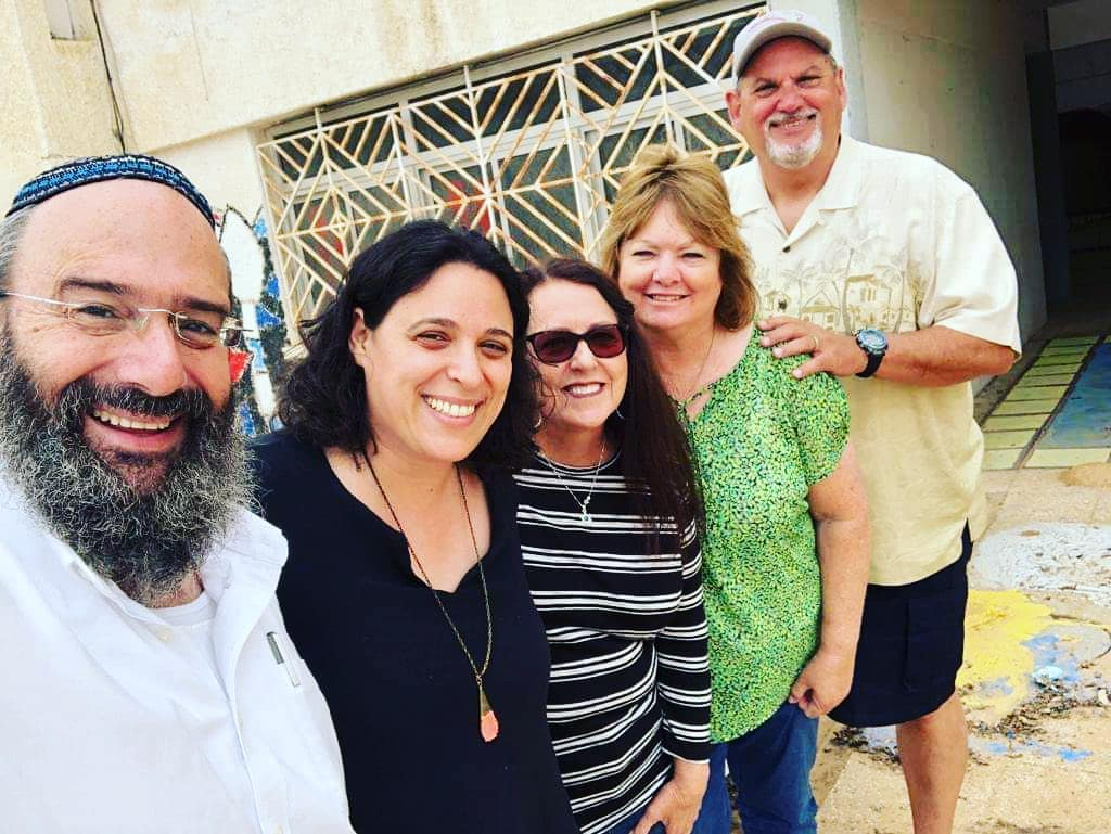 Shmuel, Limon, Deby, Cindy and John visiting the art center where the bomb shelter will soon be placed.