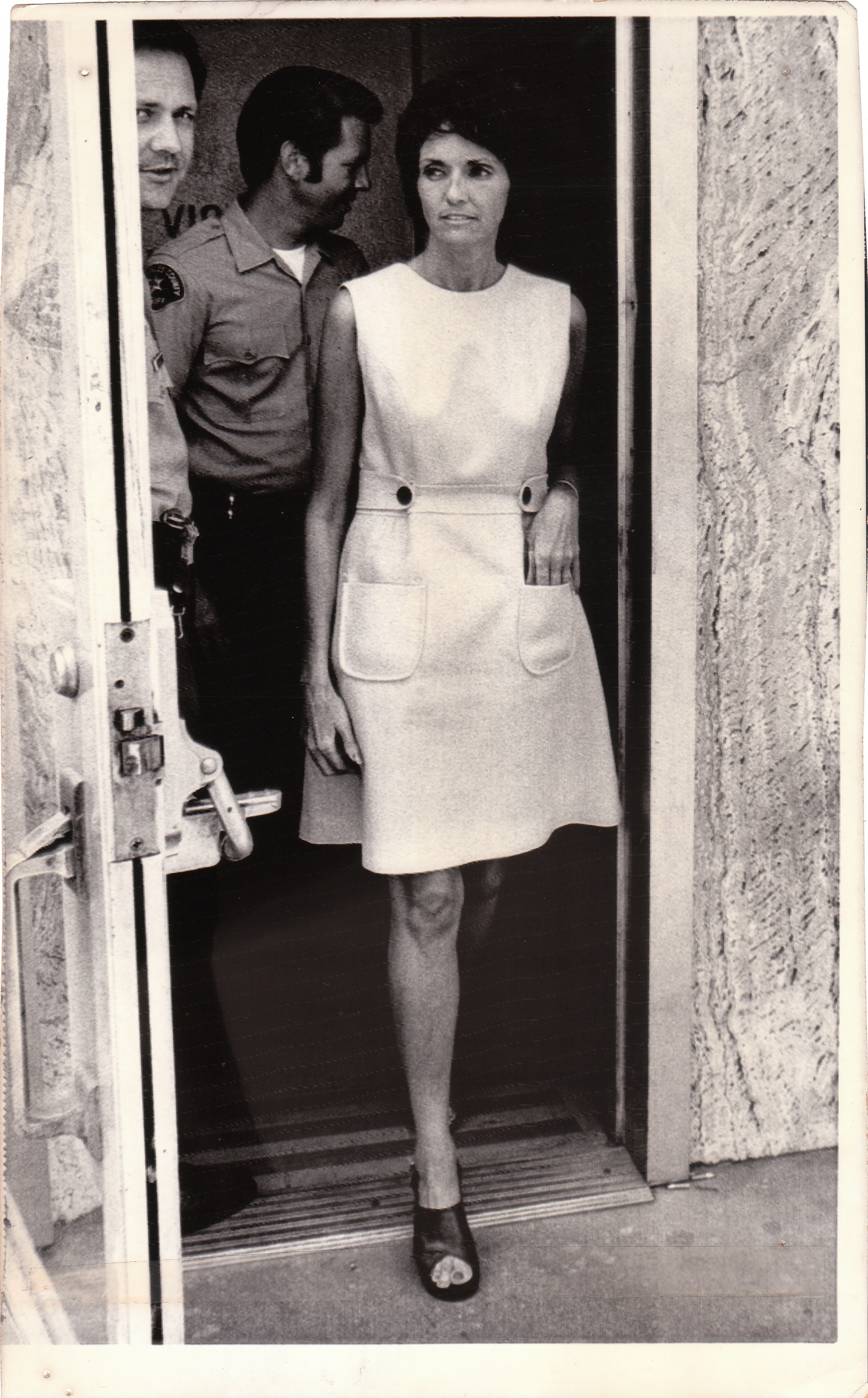 "July 10, 1973: Van Nuys, California, Lucille Miller, 43, paroled a year ago after serving seven years in prison for the slaying of her dentist and husband, is seen leaving municipal court on Monday after her arraignment on a charge of shoplifting a $7 blouse. If convicted, Mrs. Miller faces a possible revocation of her parole and a return to prison, to serve more of the life term originally given on the murder charge.  Empire Makers_4, 2015, purchased press-release   photo  ,  10 x 6-1/4,""   all appropriation rights reserved ."