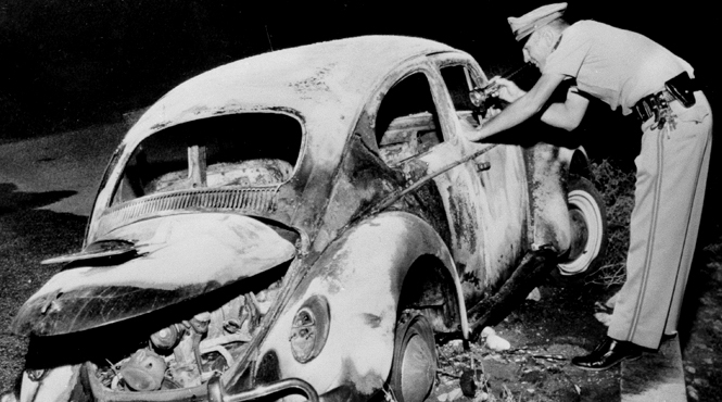 "October 8, 1964: Cork's rented Volkswagen is inspected by authorities; Baynan Street, Alta Loma (referred to now as Rancho Cucamonga).  ""Angry from that moment on, we would never be the same:"" Daughter Deborah J. Miller,   A Mother's Crime  ."