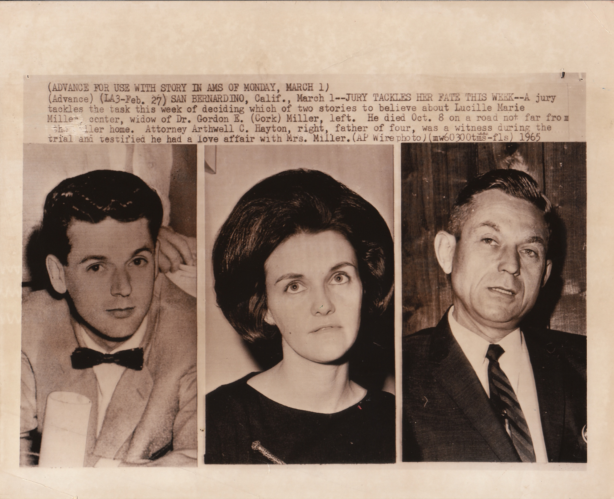 "1965: Dr. Gordan (Cork) Miller, Lucille Marie Miller, and Lucille Miller's lover, attorney Arthwell C. Hayton.  Empire Makers_5, 2015, found   photograph  ,  8 x 10,""   all appropriation rights reserved ."