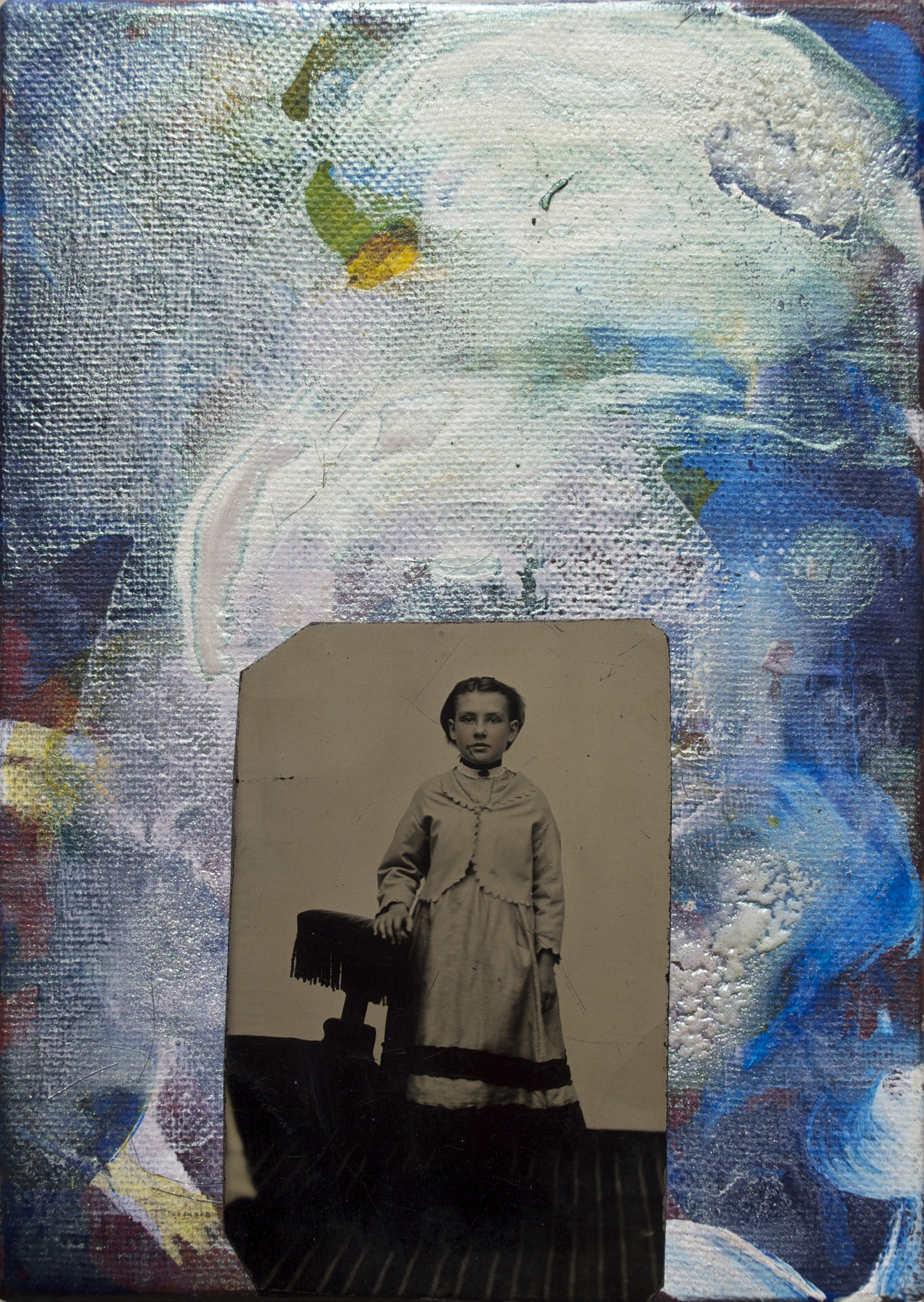 Time and Space Meant Nothing to the Young Helga Montalbán 2015, acrylic/canvas, tintype; 17.8 x 12.7 mm Copyright © Tennyson Woodbridge, 1963 to present