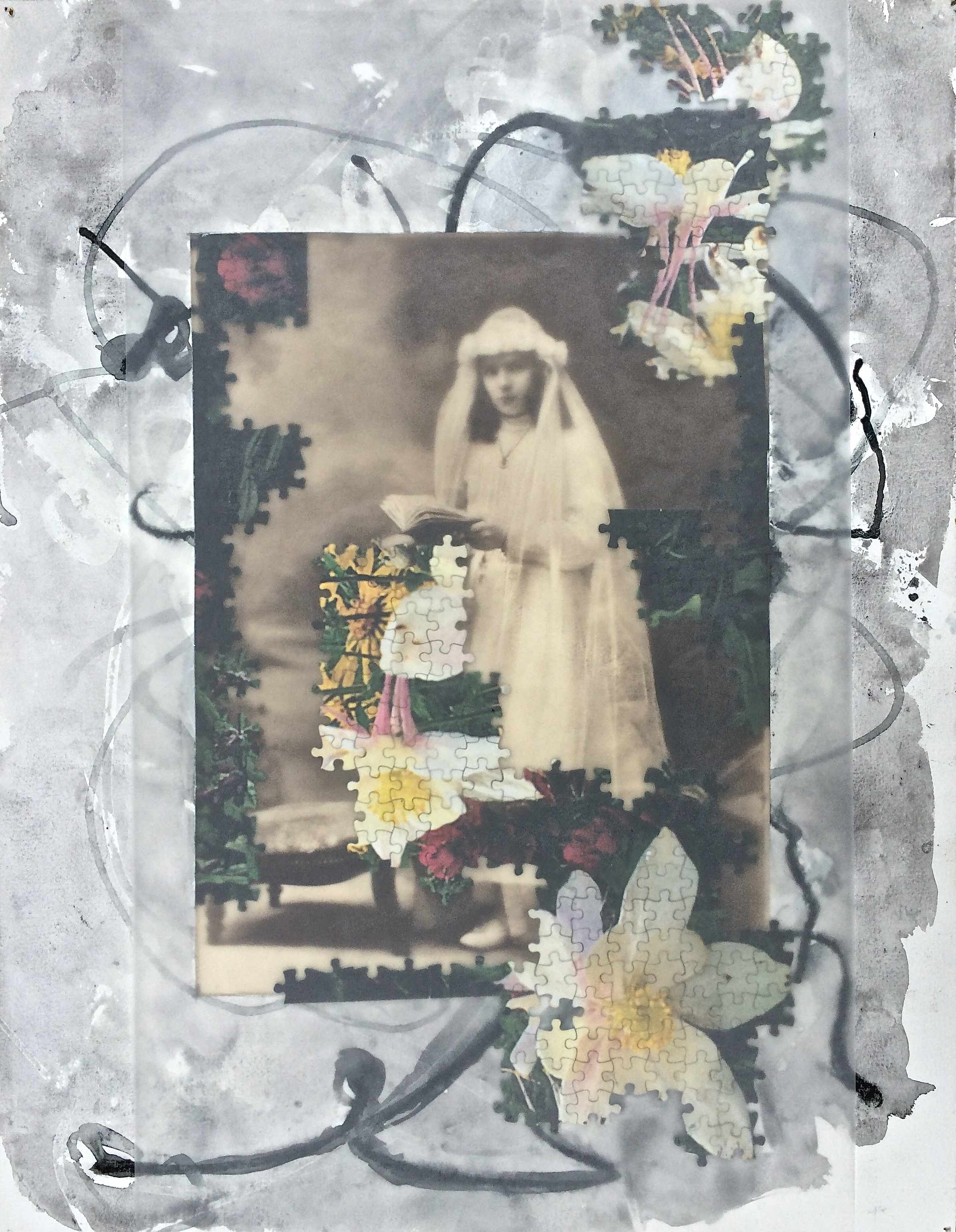 Lilly Bride 2008; charcoal, acrylic, found photo, jigsaw and vellum on paper; ~85 x 55 cm Copyright © Tennyson Woodbridge, 1963 to present. All appropriation rights reserved