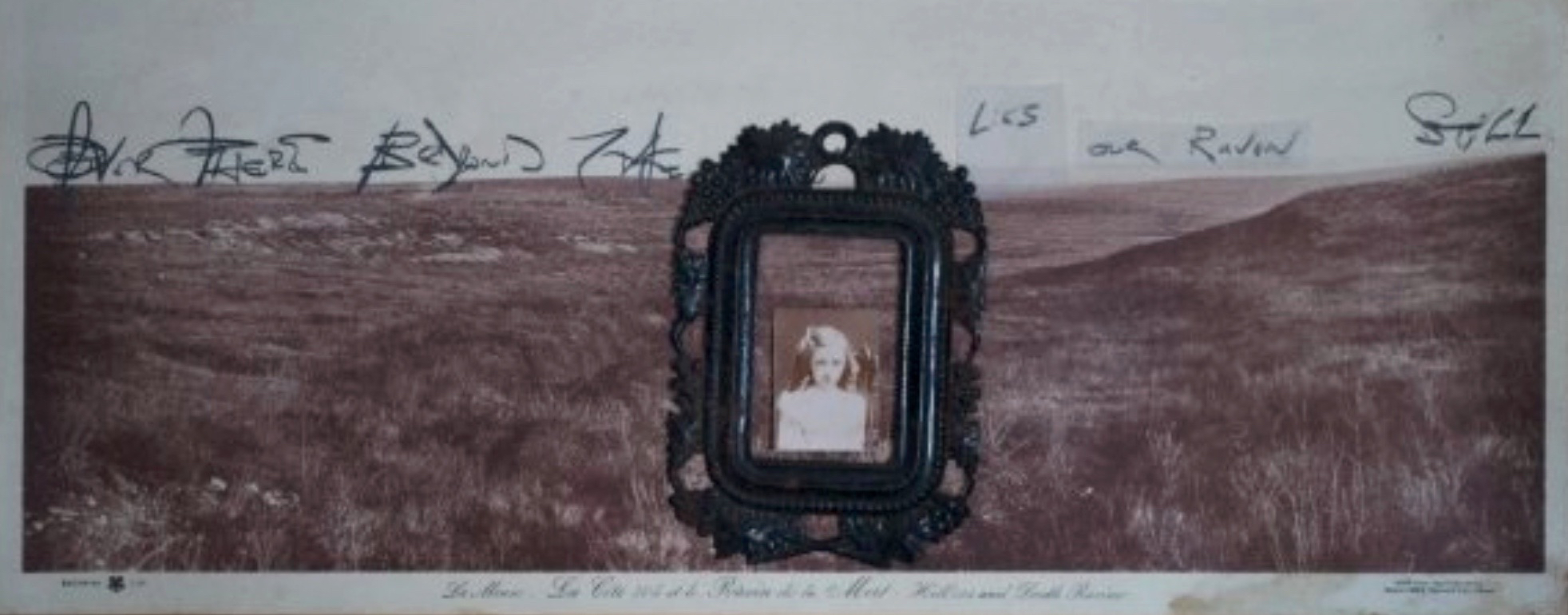 Raven de la Mort 1898/2011, found photos, antique frame, vellum, graphite, ~25x60 cm Copyright © Tennyson Woodbridge, 1963 to present. All appropriation rights reserved