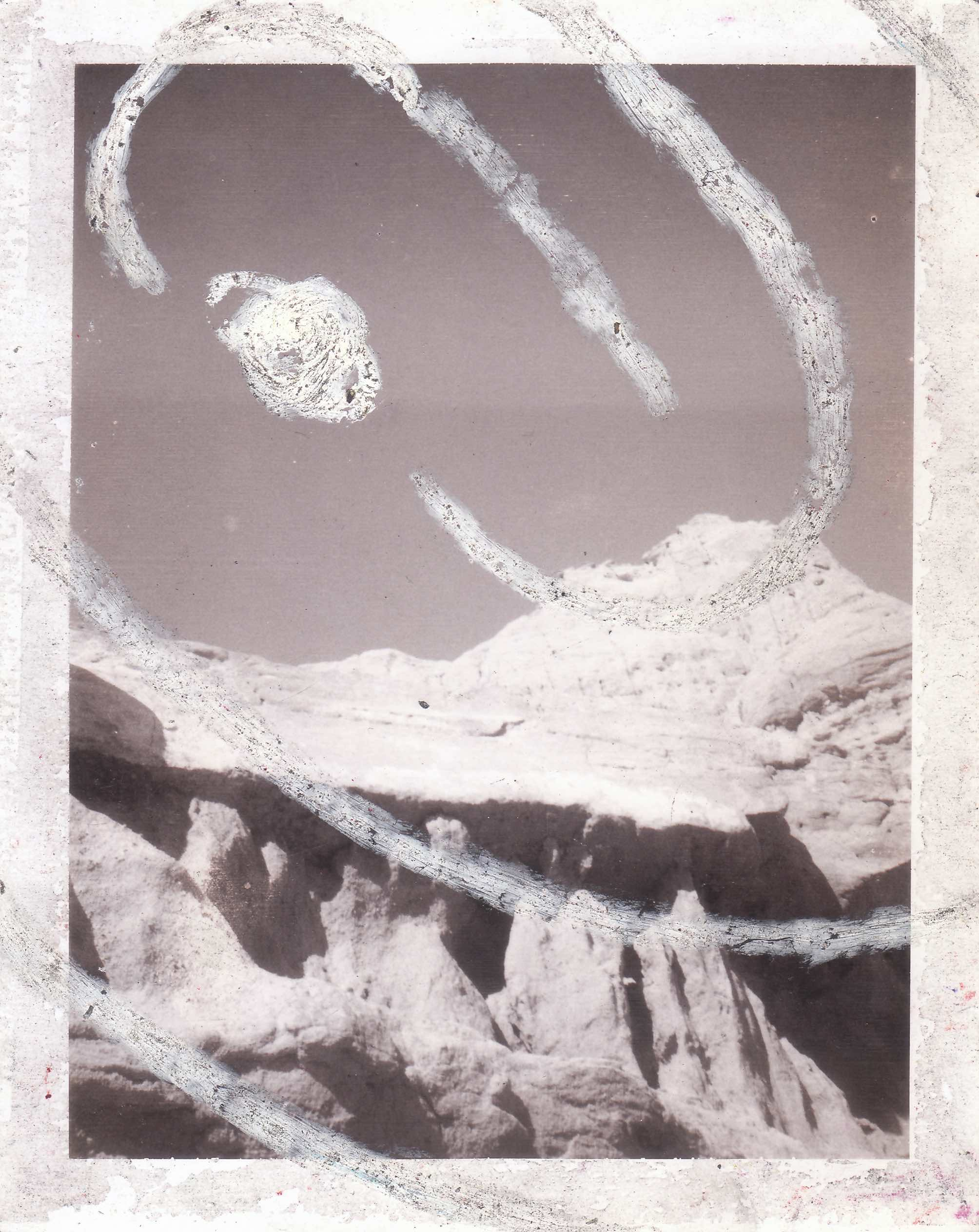 "Titus Canyon 1989  (  Partagas Polaroids) ; grease pencil on Polaroid;  4-1/4 x 3-1/2""   Copyright © Tennyson Woodbridge, 1963 to present;  Collection Michael Davey"