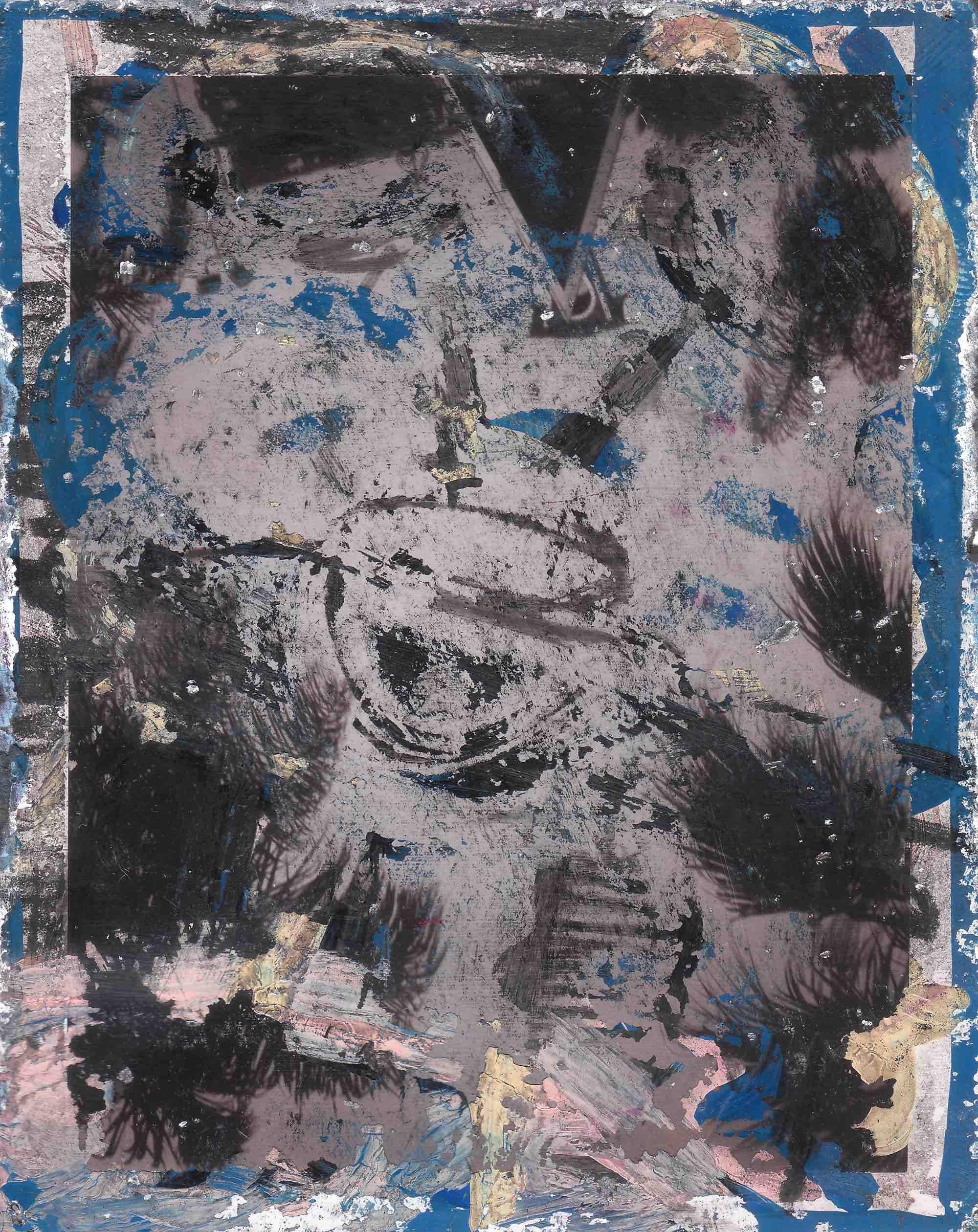 """POLAROID ® K713501C  1989 (  Partagas Polaroids)  ;   liquid paper, grease & graphite pencil on Polaroid; 4-1/4 x 3-3/8""""   Copyright © Tennyson Woodbridge, 1963 to present"""
