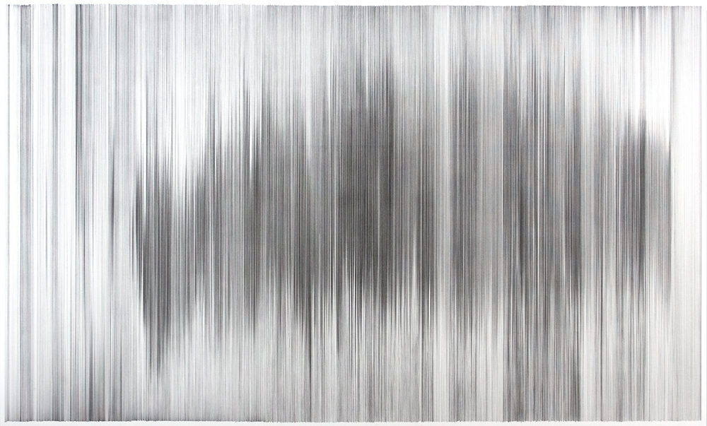 parallel 10  2007 graphite on cotton mat board 70 by 42 inches shown in  Apparently Invisible Selections Spring 2009    at The Drawing Center, New York, NY
