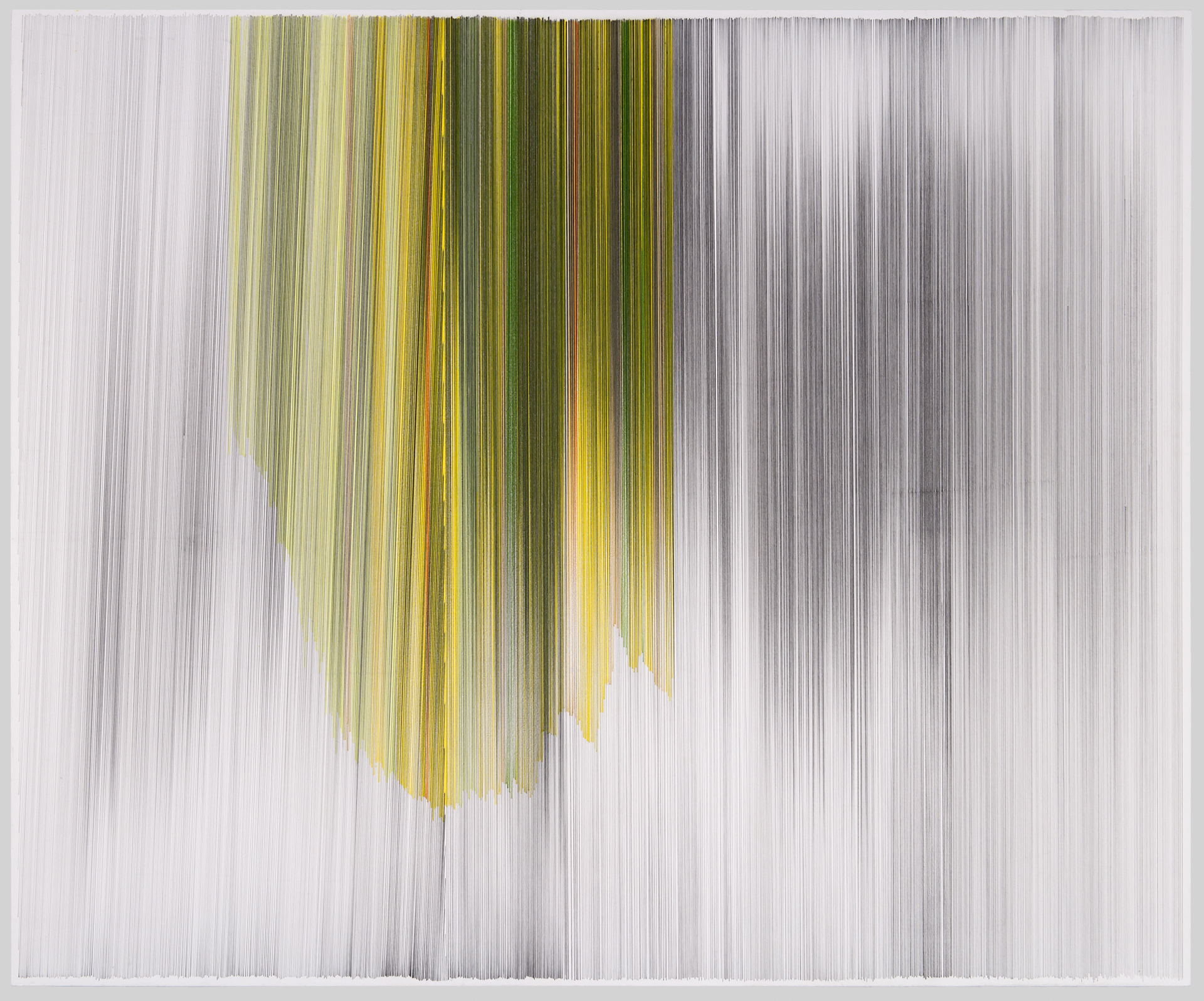 motion drawing 18 yellow  2010 graphite & colored pencil on cotton mat board 34 by 28 inches