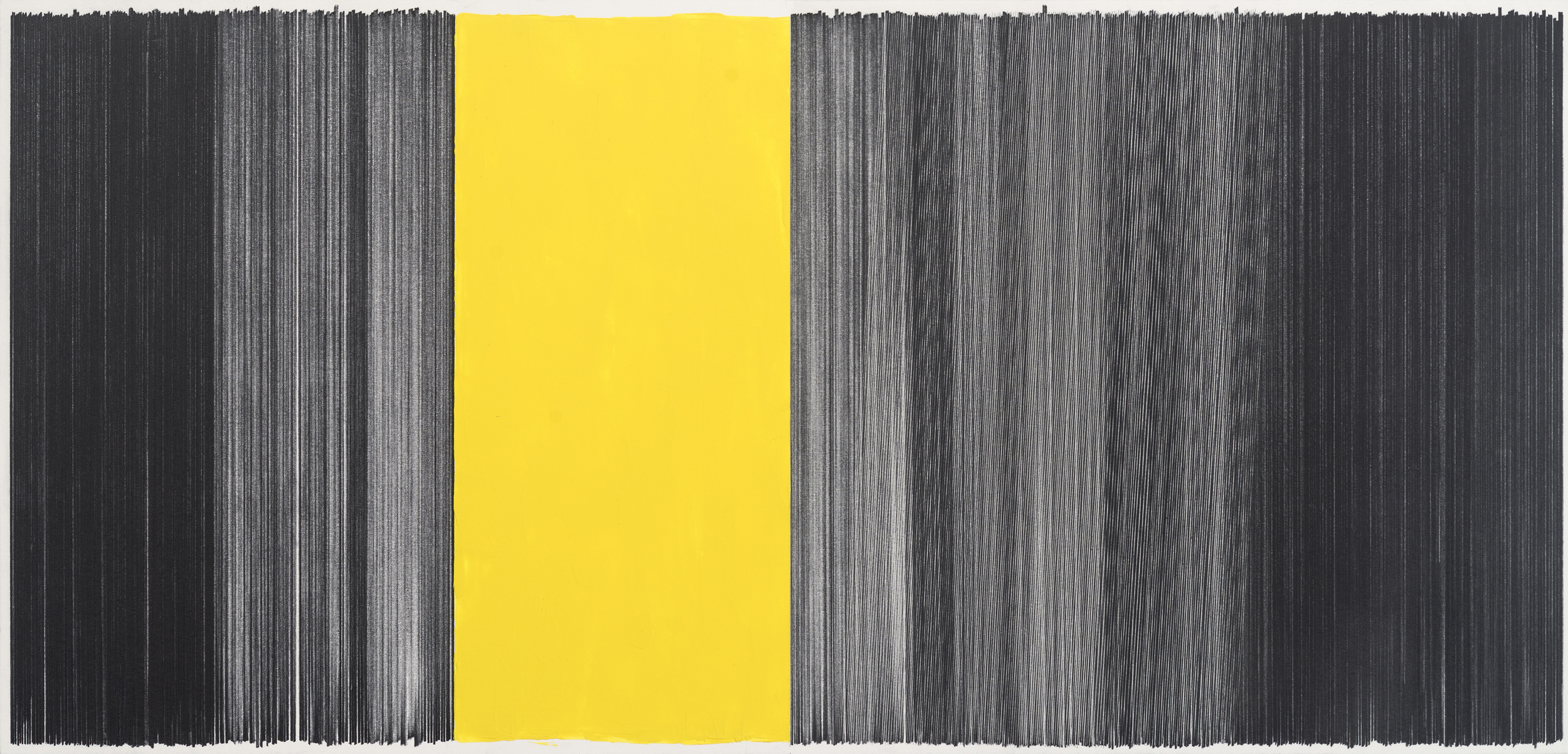 drawing black yellow  2014 graphite & acrylic on mat board 17 by 36 inches