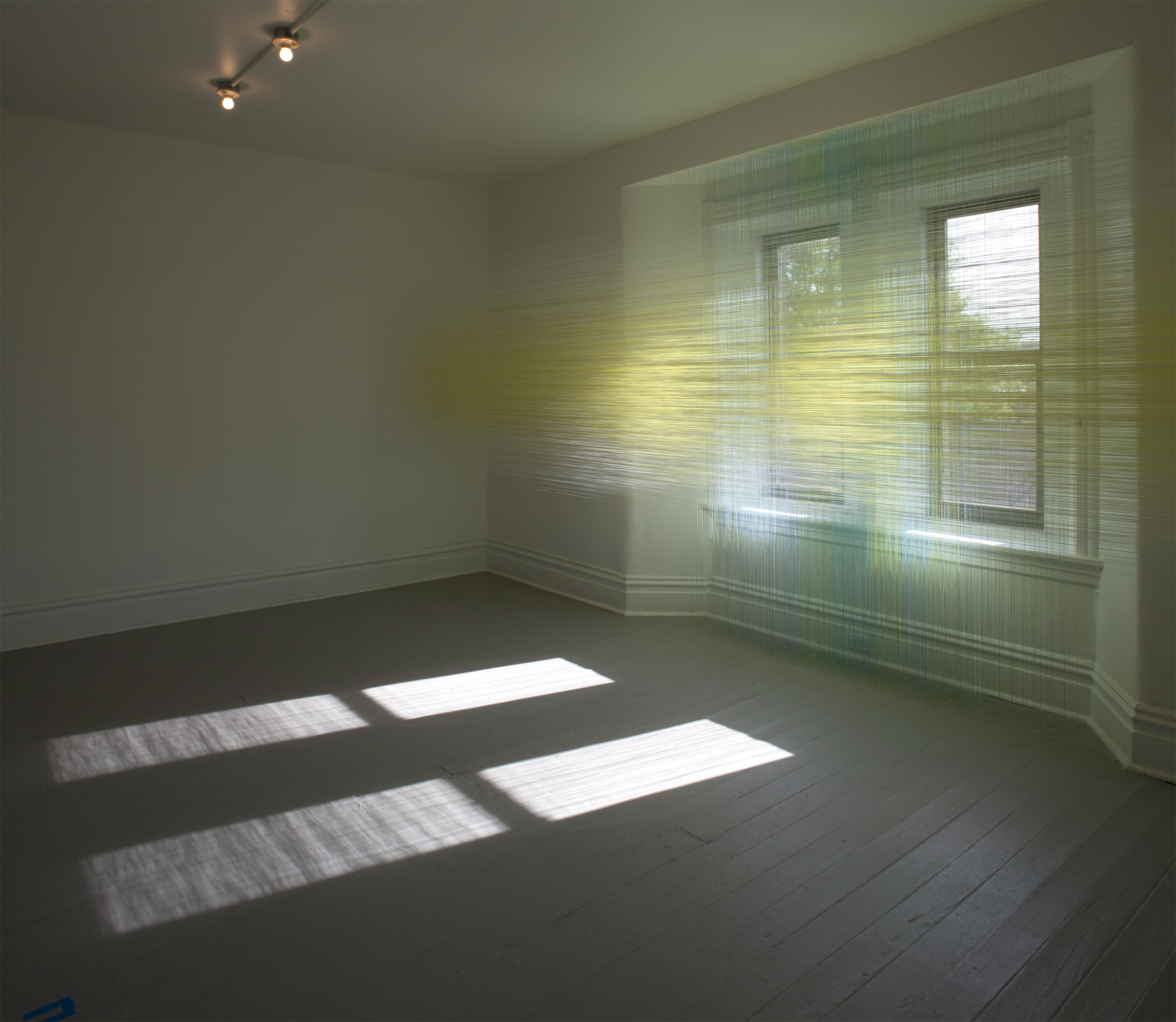 Anne Lindberg  shift lens , 2015  thread and staples, @ The Mattress Factory, Pittsburgh, PA group exhibition titled Factory Installed, up through March 2016