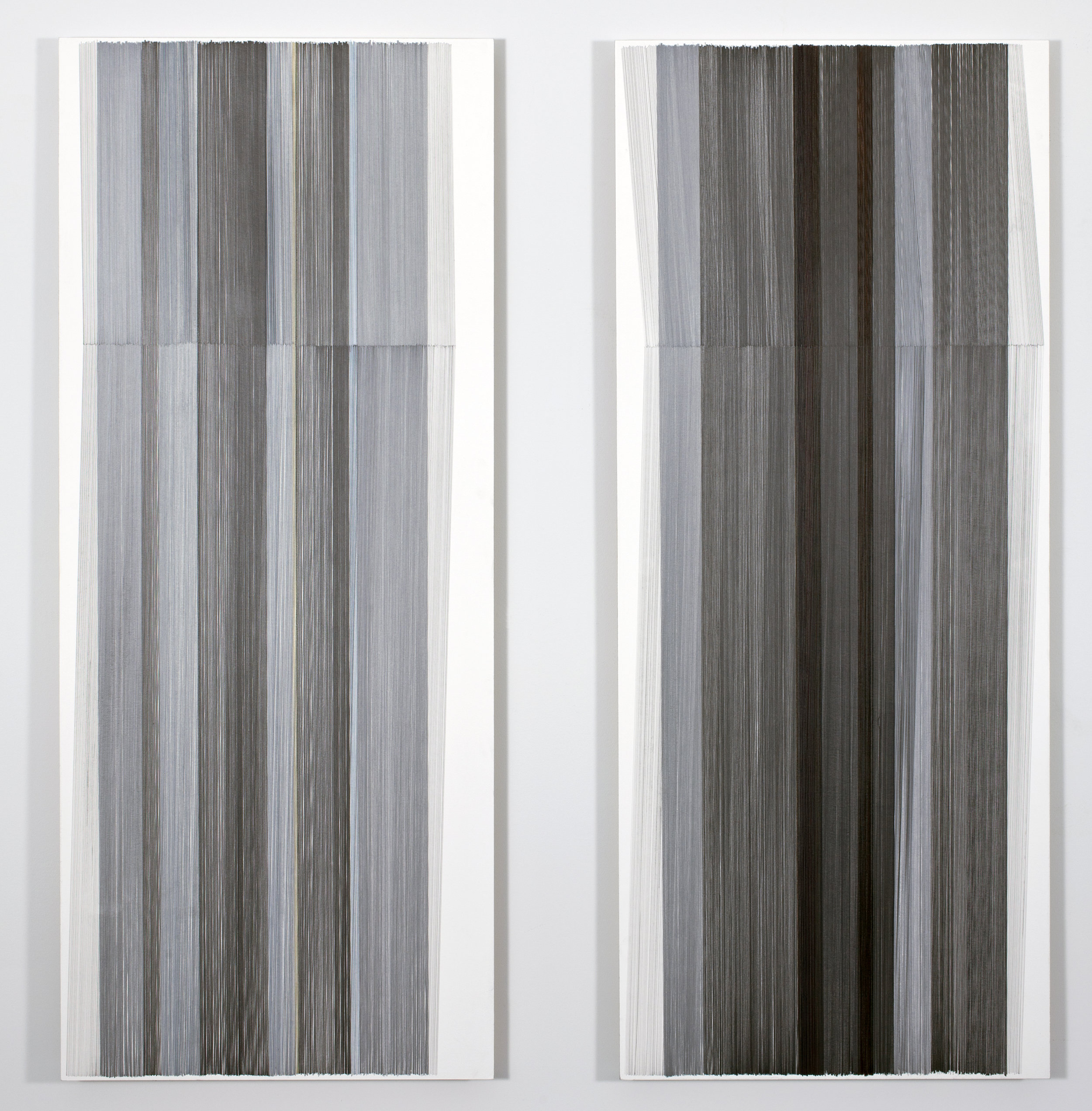 unfold 23 a&b   2016   graphite & colored pencil on mat board   24 by 50 inches each