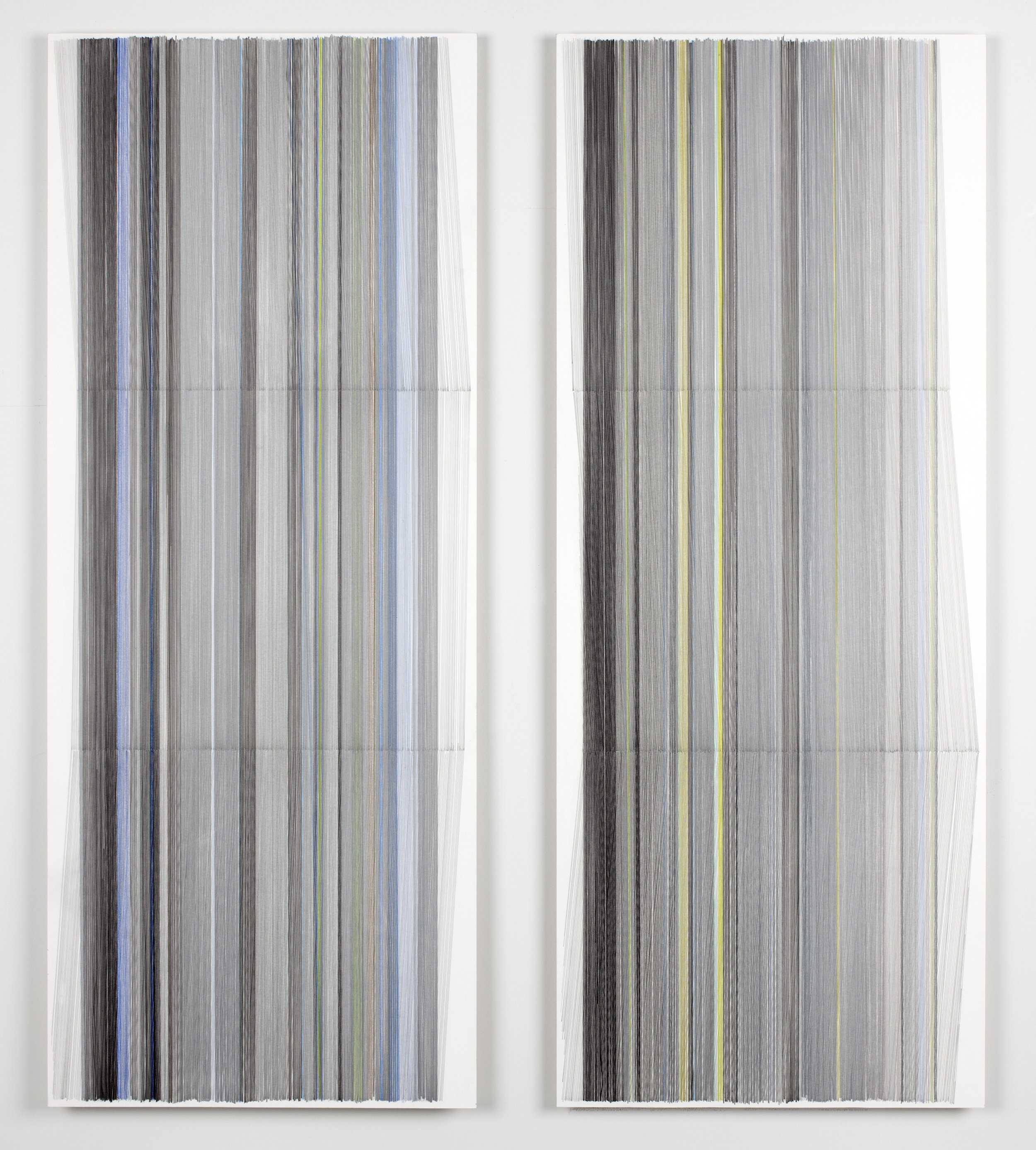 unfold 25 a&b   2016   graphite & colored pencil on mat board   24 by 50 inches each