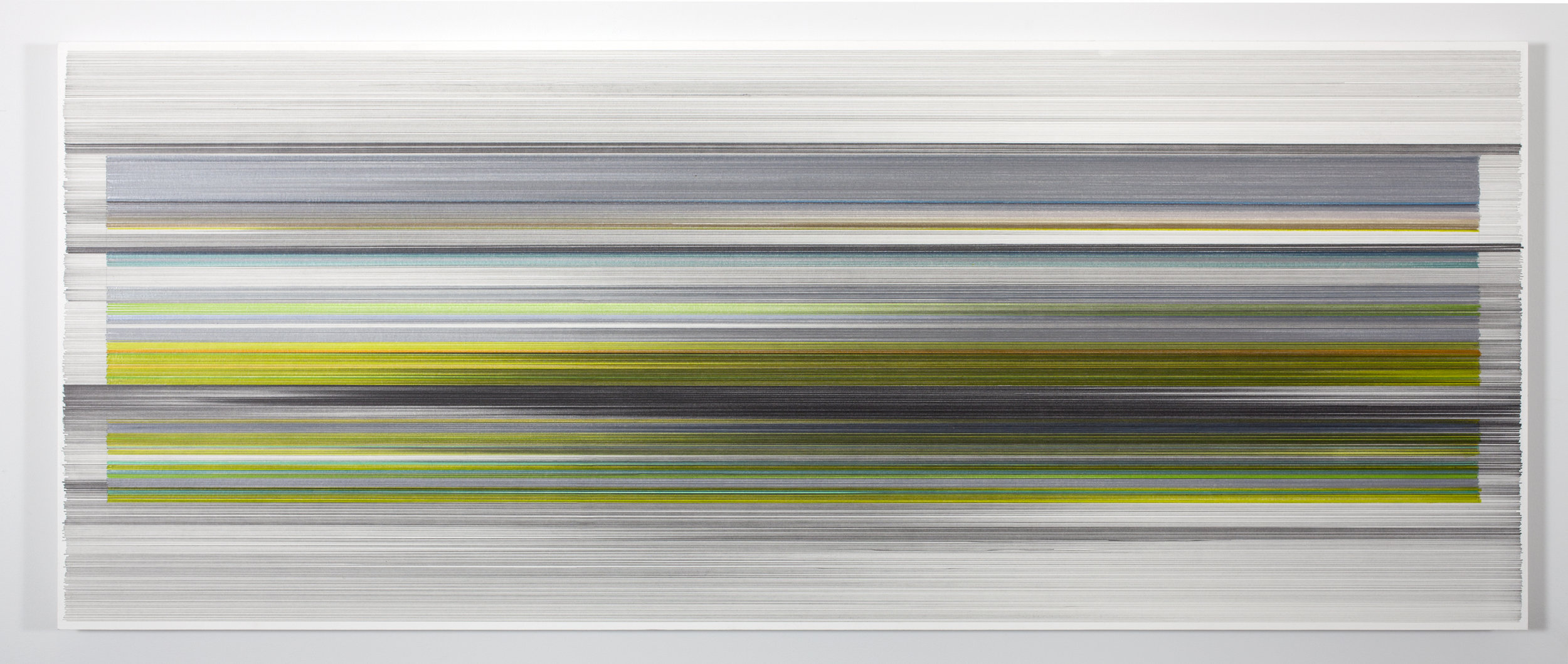 """Anne Lindberg, """"folding 03,"""" 2016, graphite & colored pencil on mat board, 24 by 60 inches"""