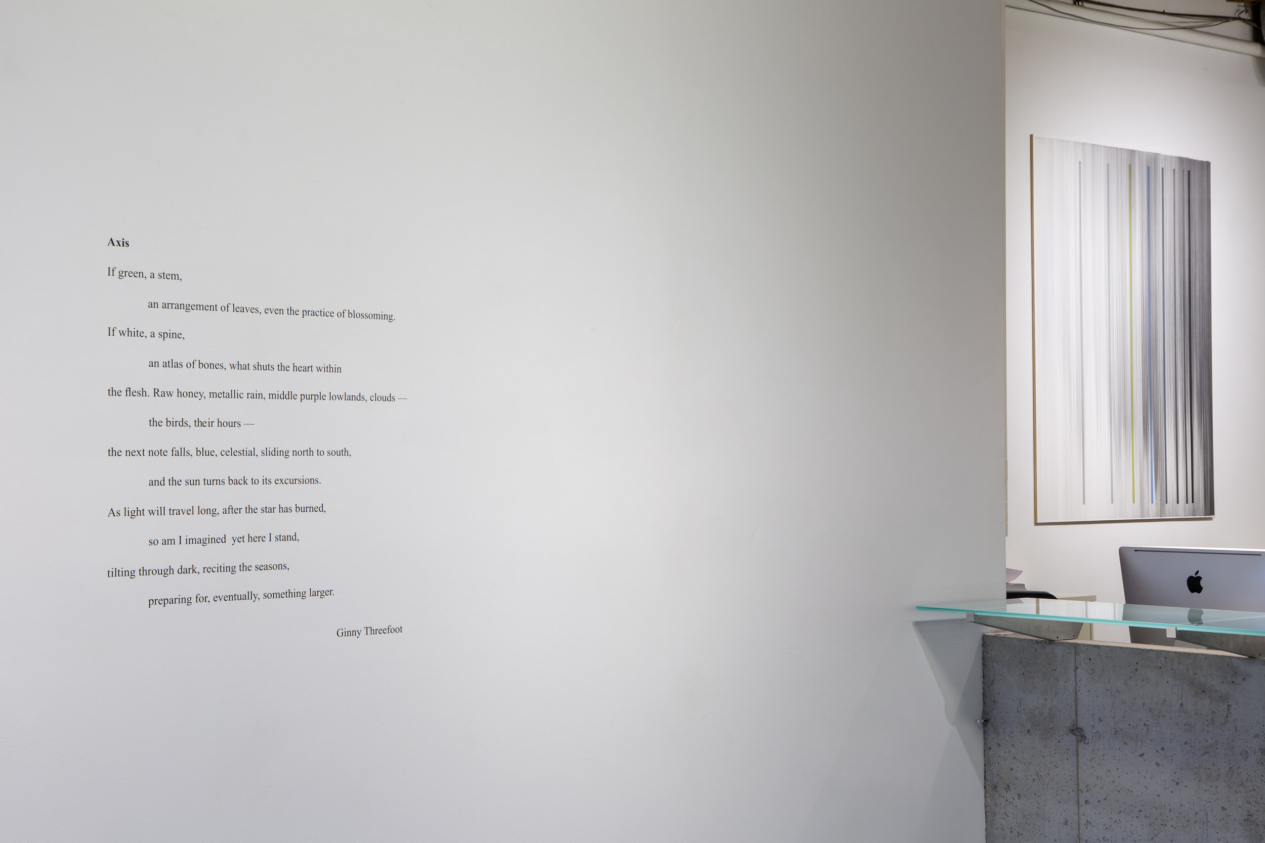 studio view of  Axis  by Ginny Threefoot a poem in response to the work
