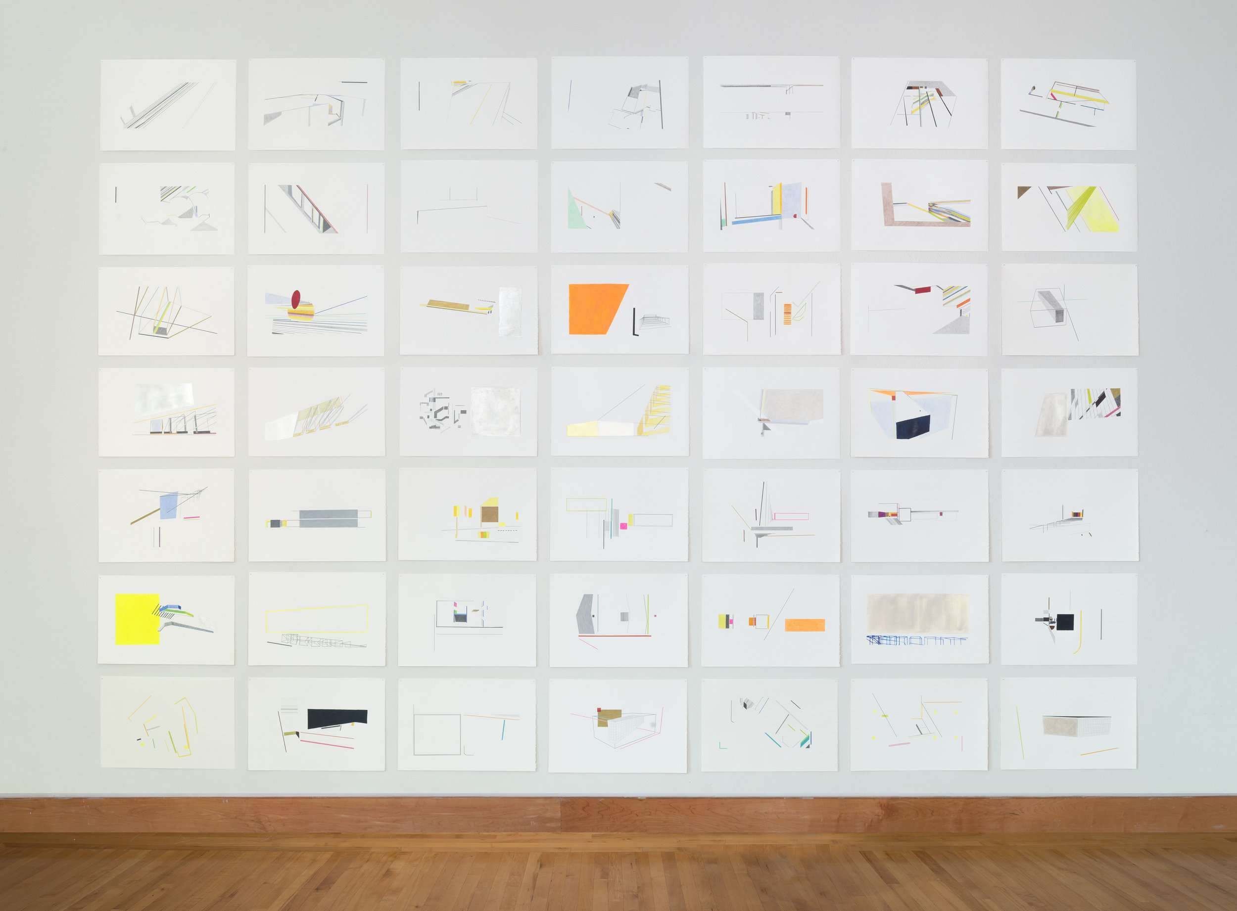 Anne Lindberg   work of the collective   2017 graphite, acrylic and colored pencil on paper 49 individual drawings 20 by 15 inches each; 17 by 10 feet overall photography by EG Schempf