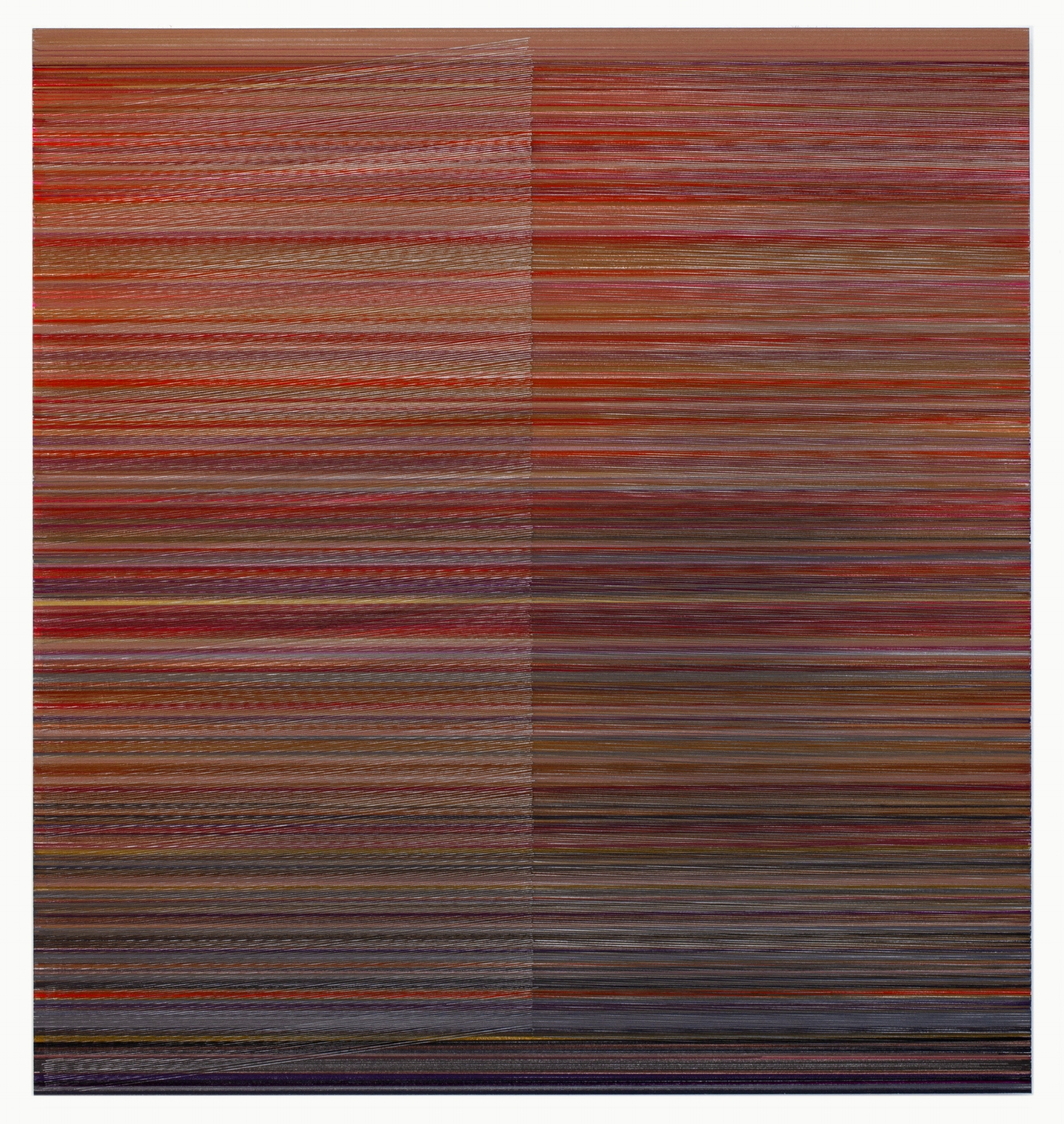Anne Lindberg,   then the measure 08  , 2018 graphite and colored pencil on mat board, 28 by 30 inches