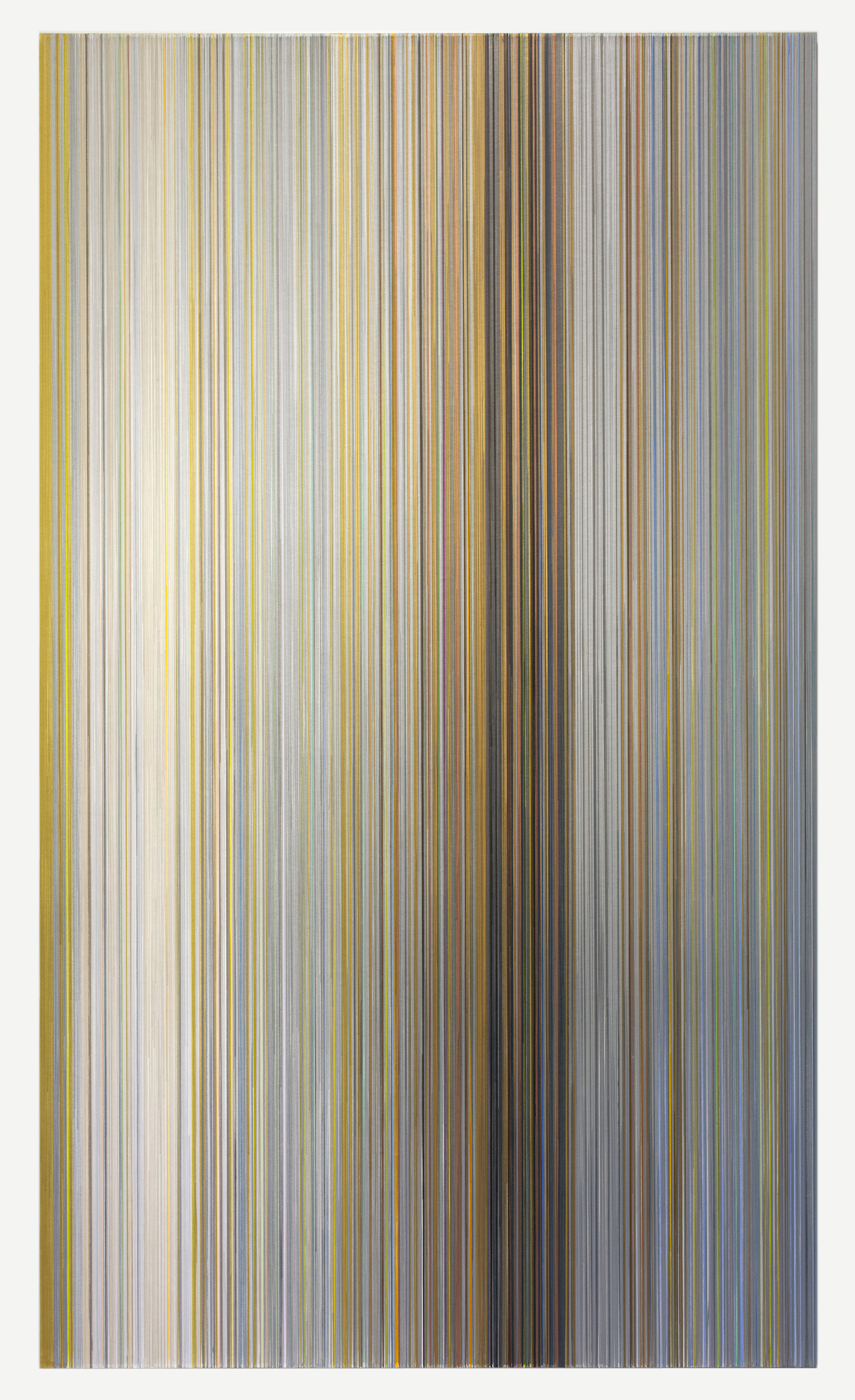 """Anne Lindberg,  the small hours , 2017, graphite and colored pencil on mat board, 102 by 59 inches, title from poem by Alice Oswald """"Vertigo"""" from Falling Awake, (2016) W.W. Norton & Company"""